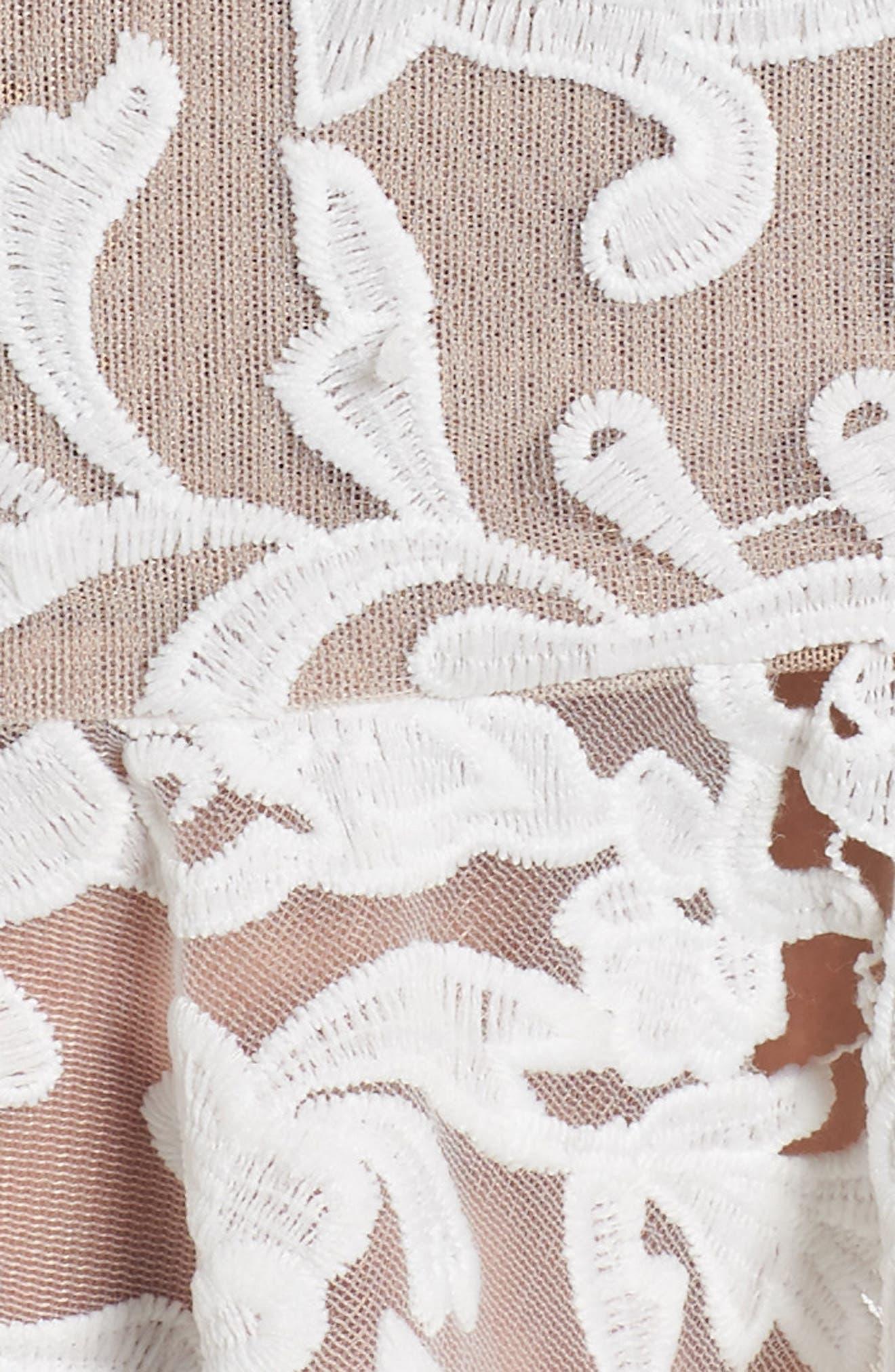 Rocha Waterfall Ruffle Lace Midi Dress,                             Alternate thumbnail 5, color,                             White