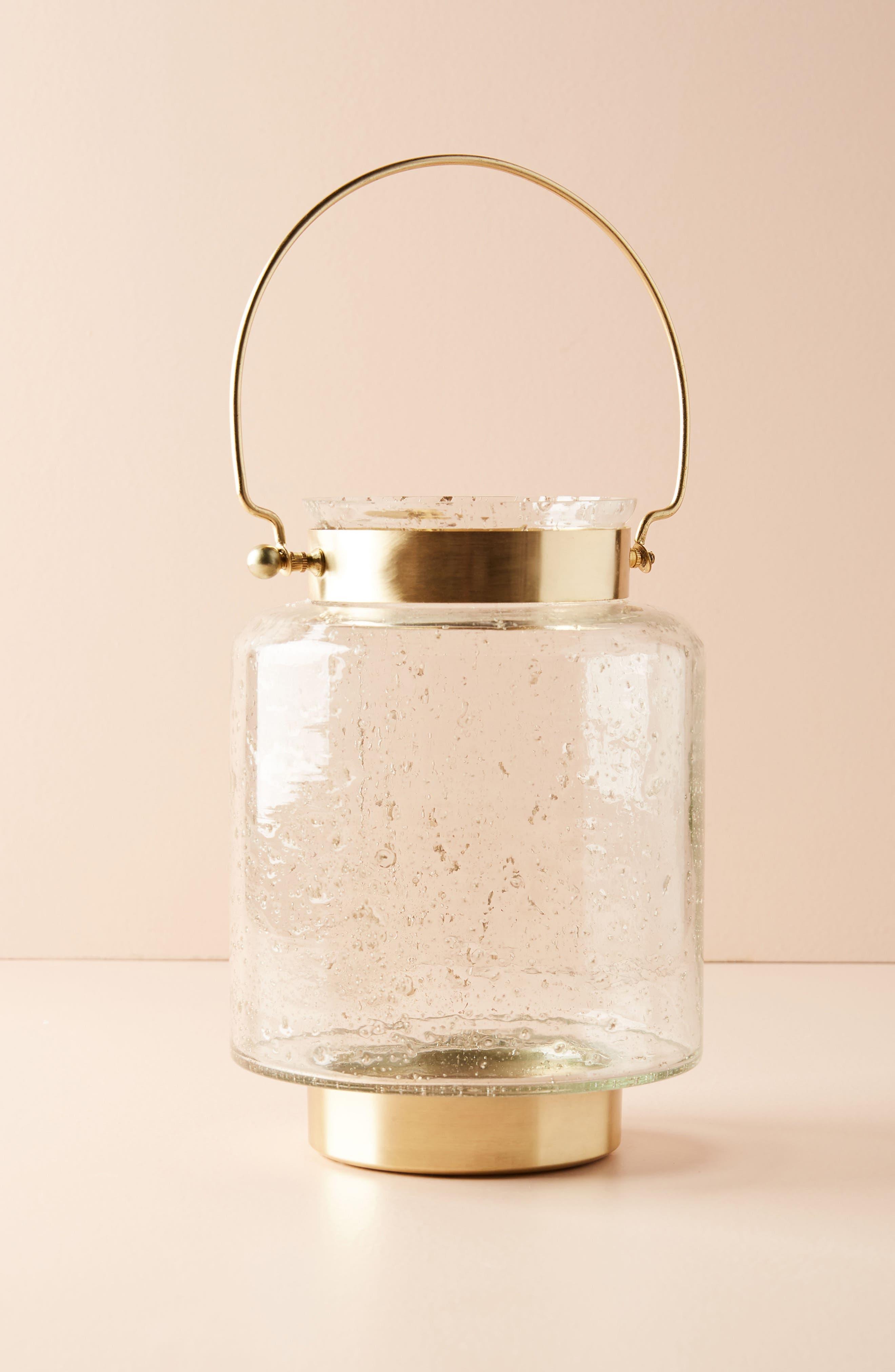 Gilded Lantern Candleholder,                         Main,                         color, Gold
