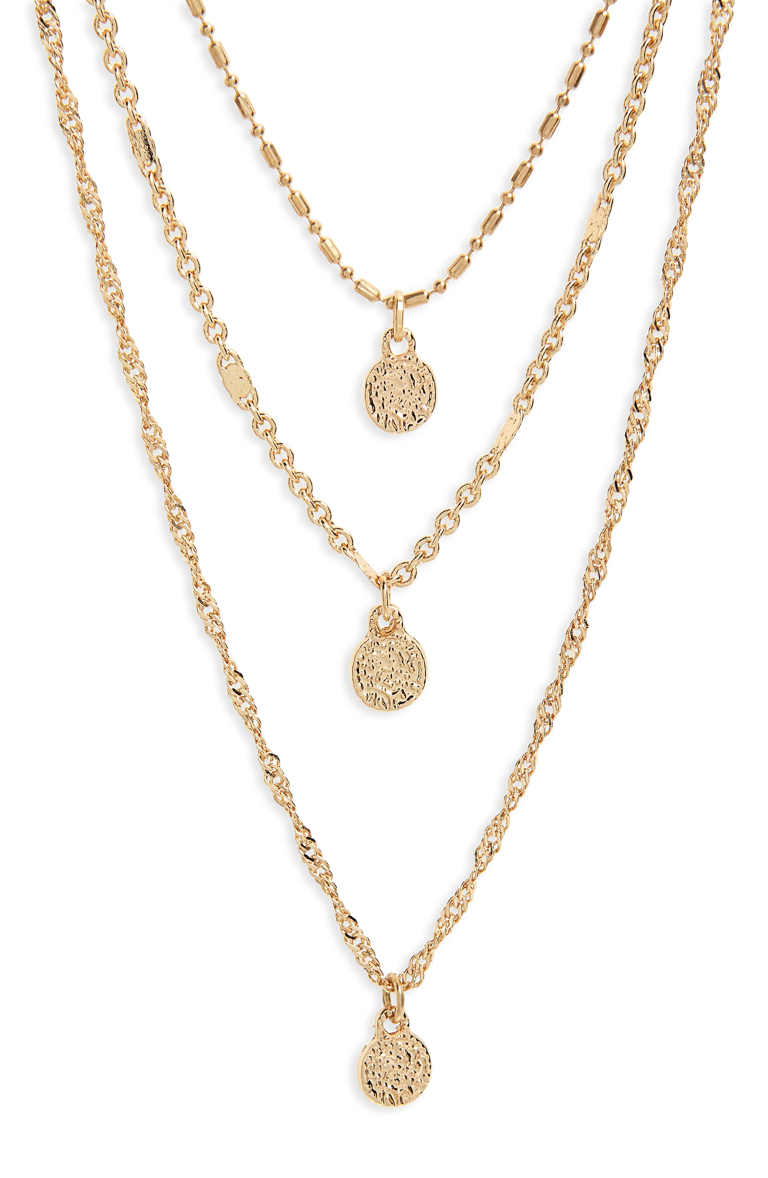 Triple Strand Circle Drop Necklace,                             Main thumbnail 1, color,                             Gold