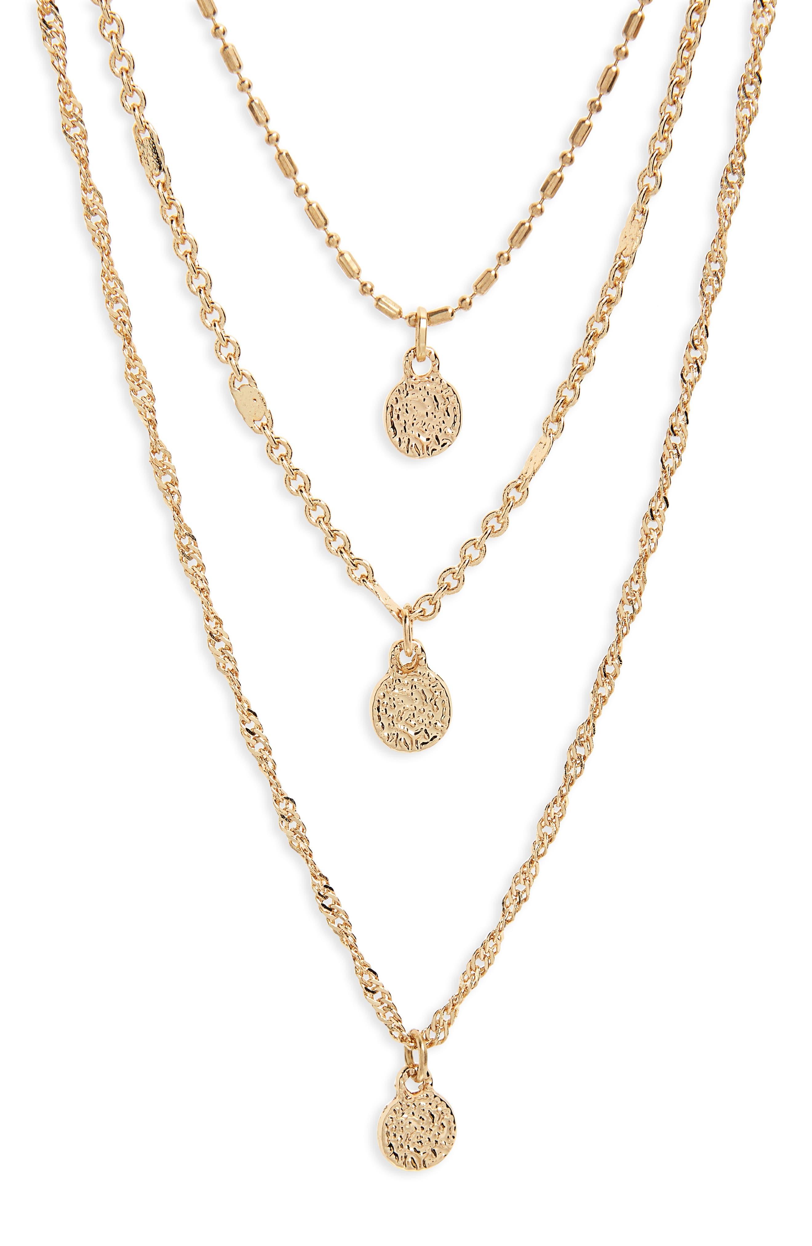 Triple Strand Circle Drop Necklace,                         Main,                         color, Gold