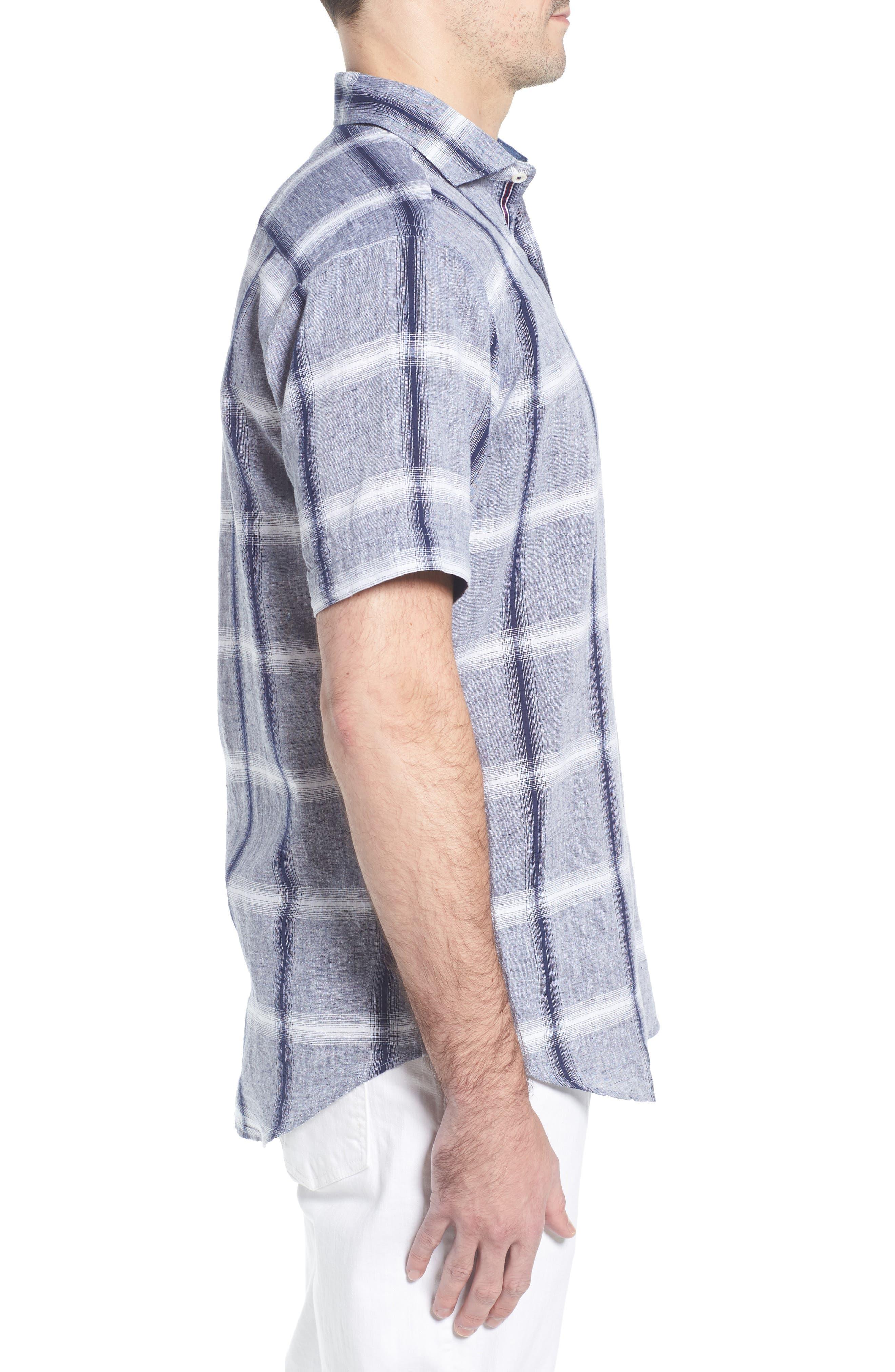 Shaped Fit Check Linen & Cotton Sport Shirt,                             Alternate thumbnail 3, color,                             Navy