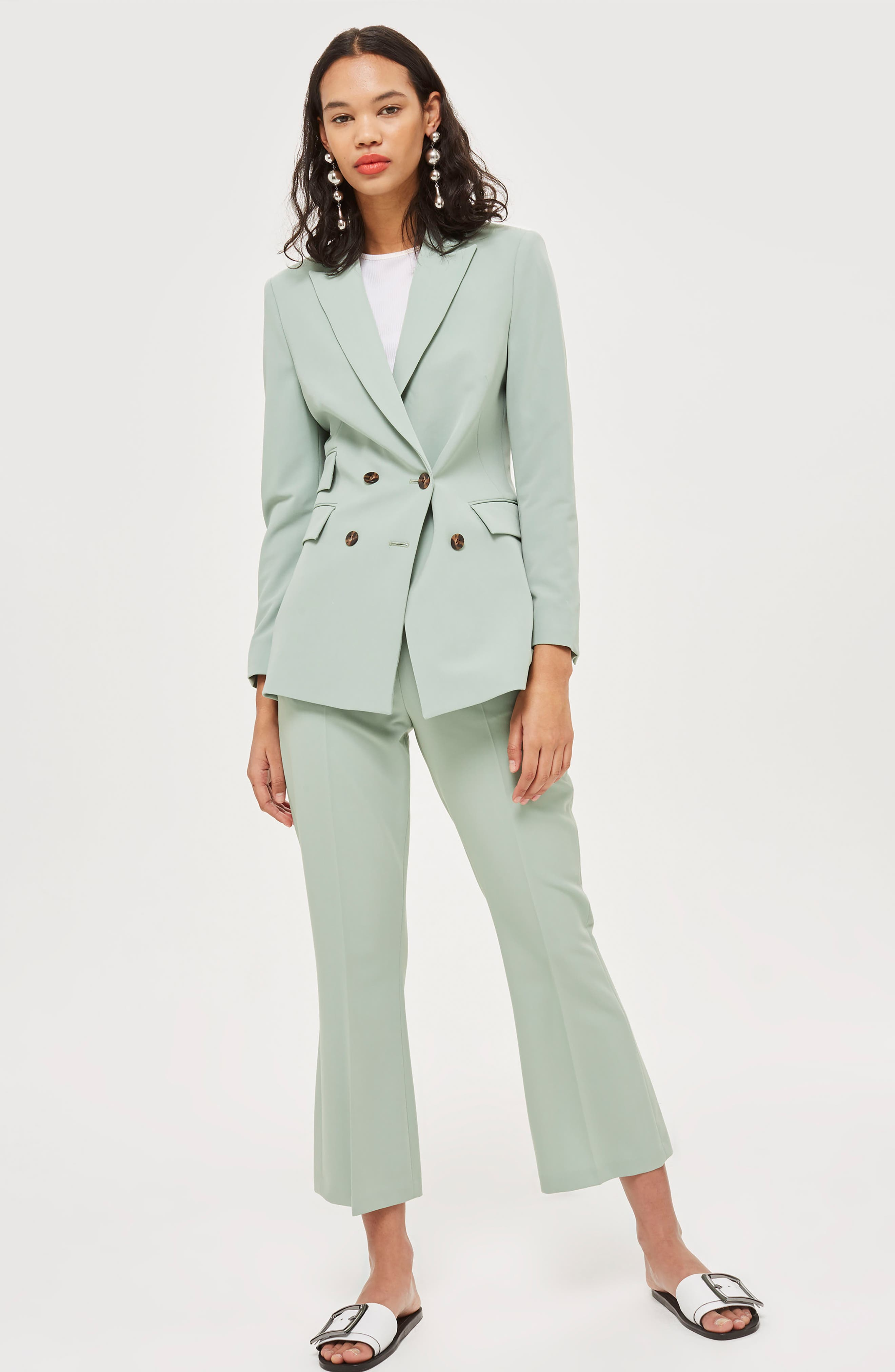 Longline Double Breasted Suit Jacket,                             Alternate thumbnail 2, color,                             Light Green