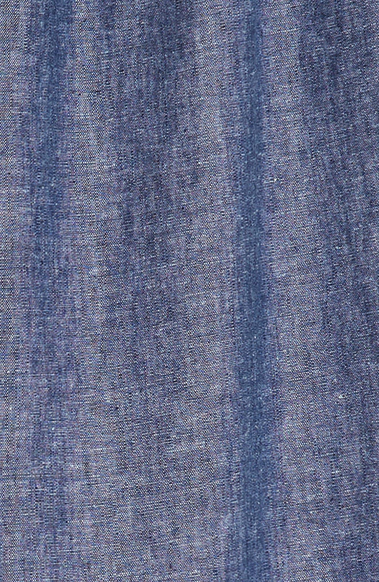 Chambray Ruffle Neck Dress,                             Alternate thumbnail 3, color,                             Indigo