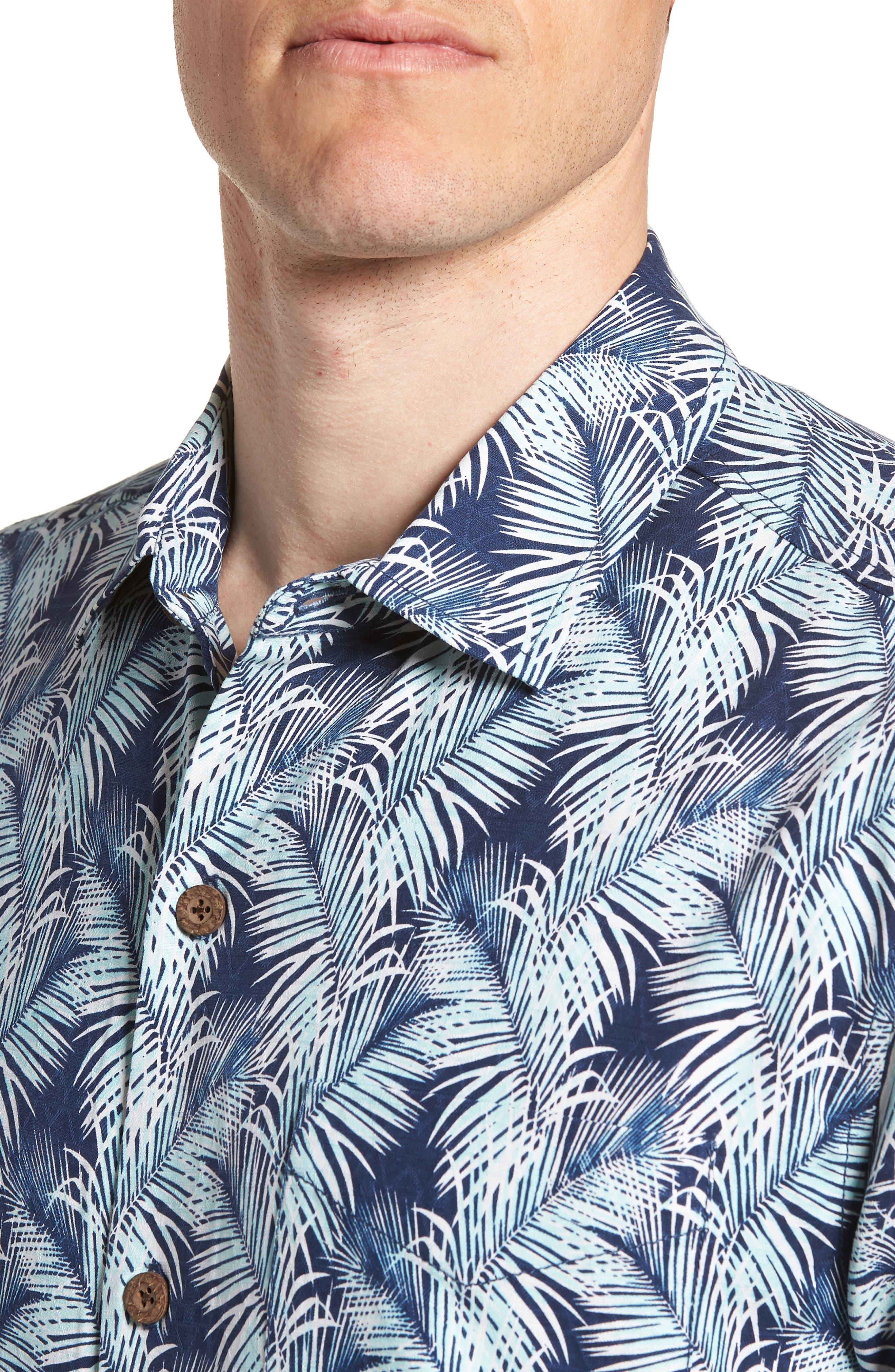 Palms of Tulum Silk Camp Shirt,                             Alternate thumbnail 2, color,                             Ocean Deep