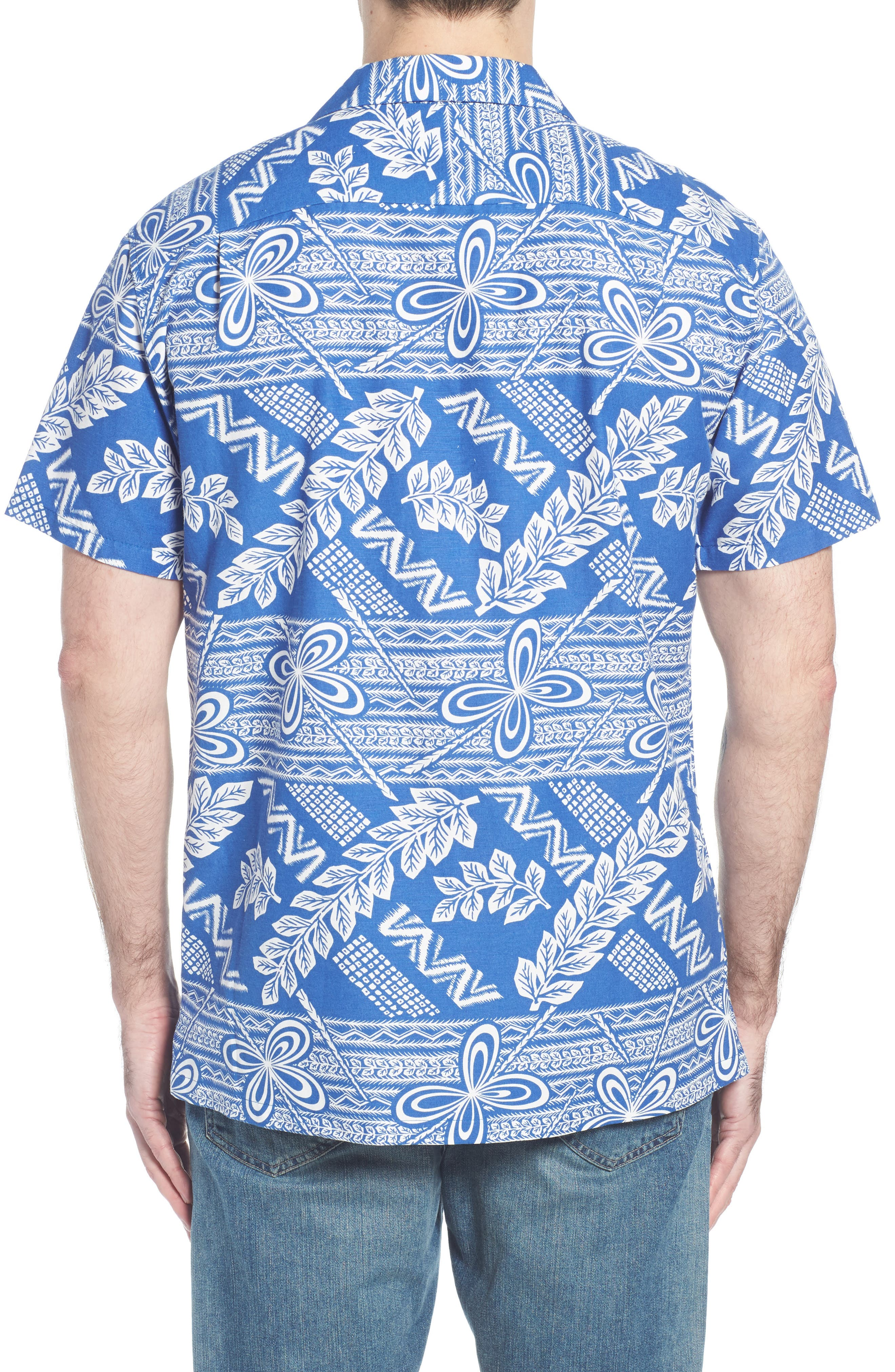 Makana Trim Fit Print Sport Shirt,                             Alternate thumbnail 5, color,                             Kai
