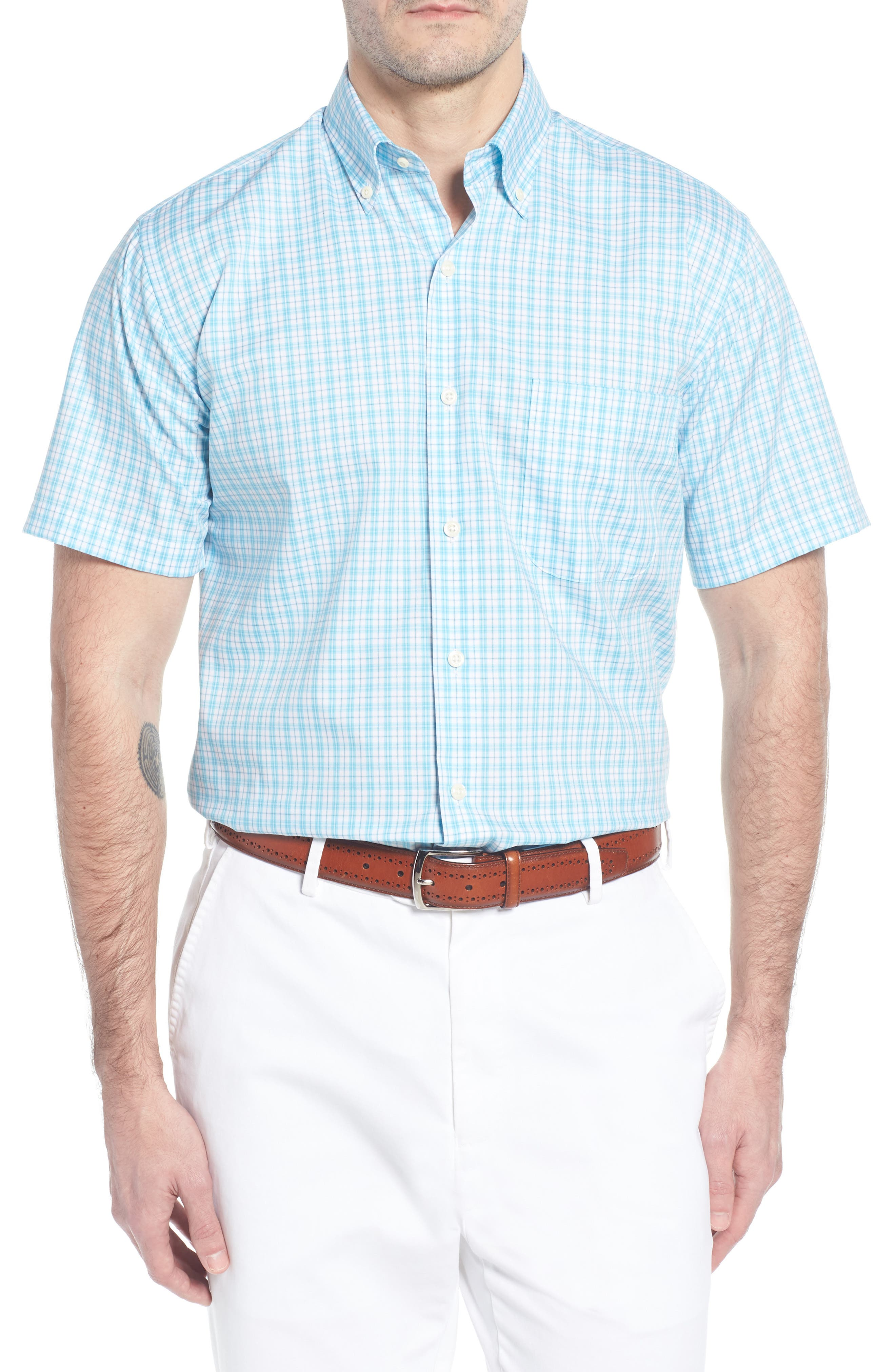 Crown Ease Eventide Check Sport Shirt,                         Main,                         color, Blue Fish