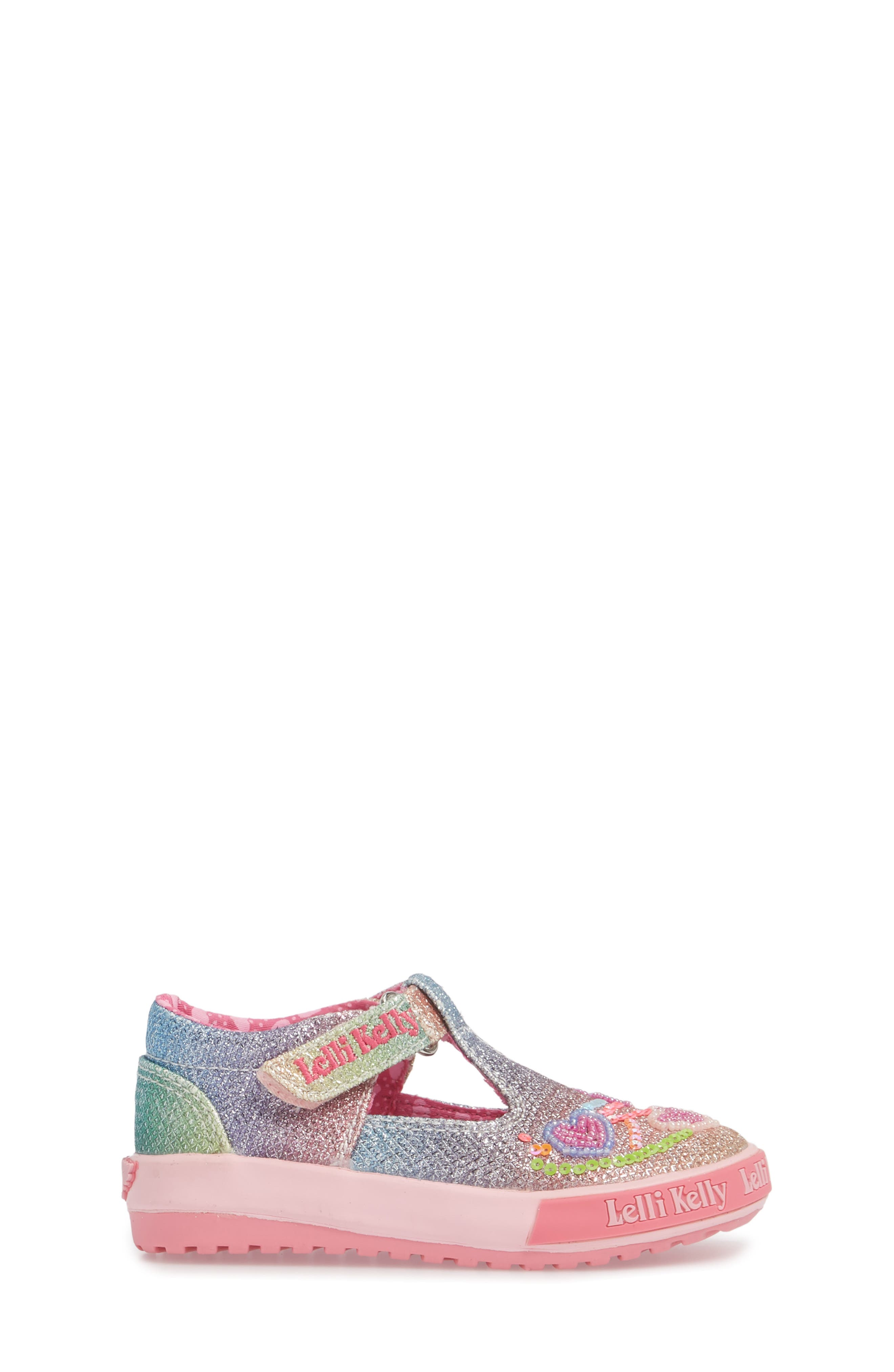 Glitter Metallic T-Strap Mary Jane,                             Alternate thumbnail 3, color,                             Pink