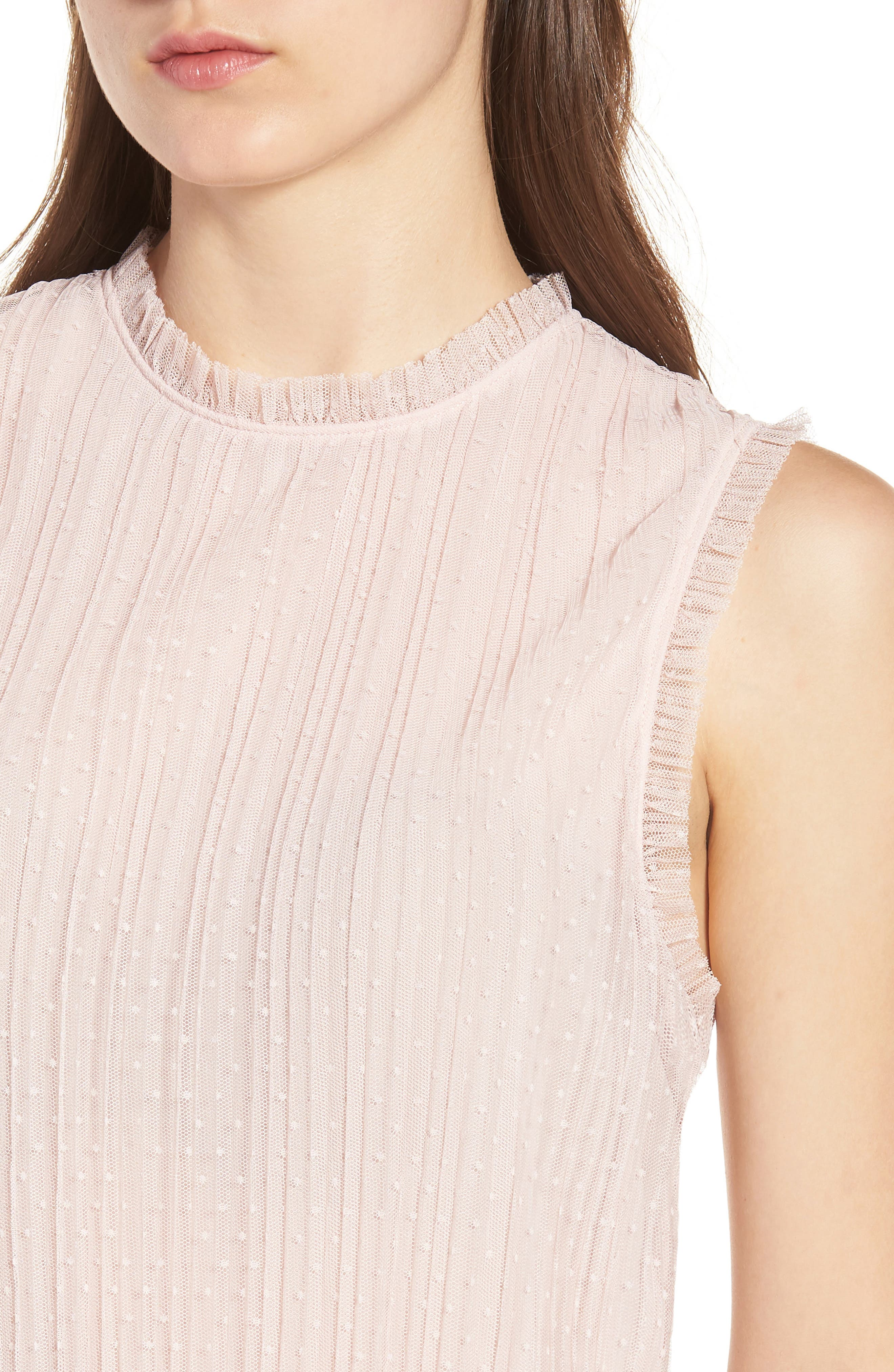 Dotted Mesh Top,                             Alternate thumbnail 4, color,                             Pink Peach