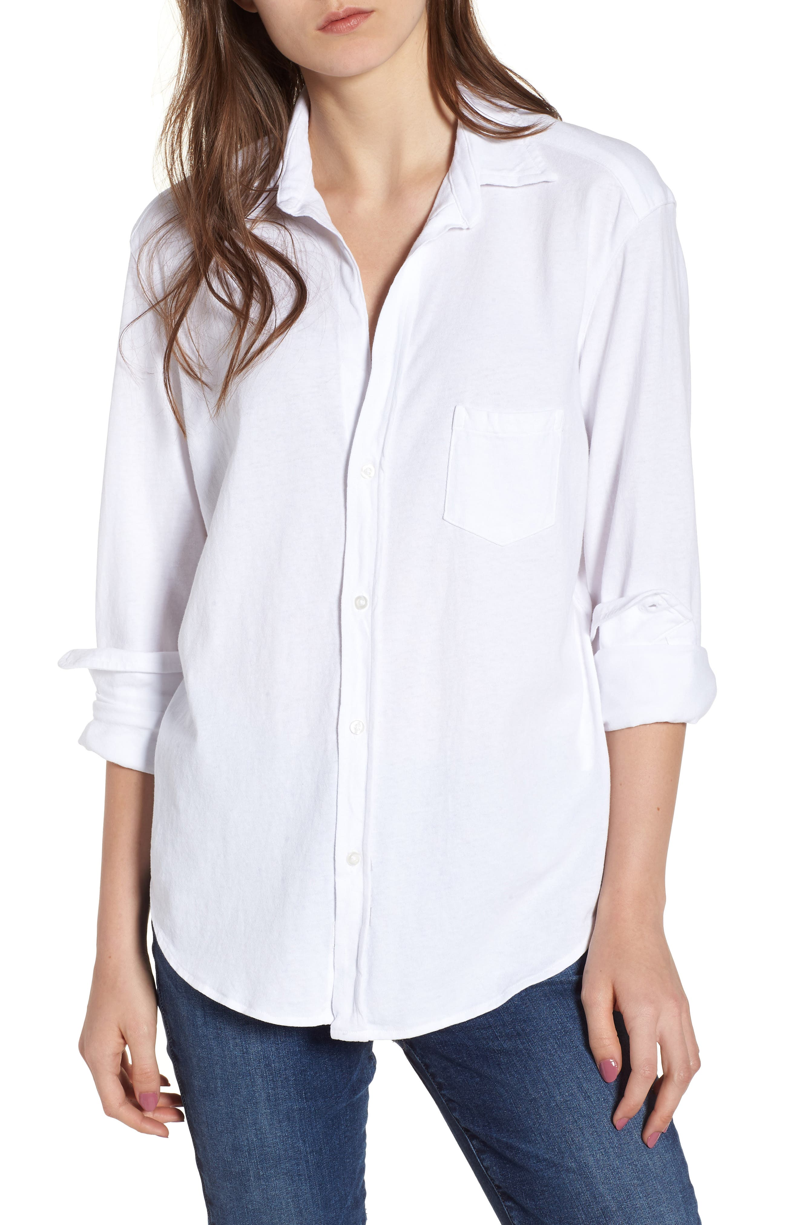 Button Front Jersey Shirt,                             Main thumbnail 1, color,                             Whiteout