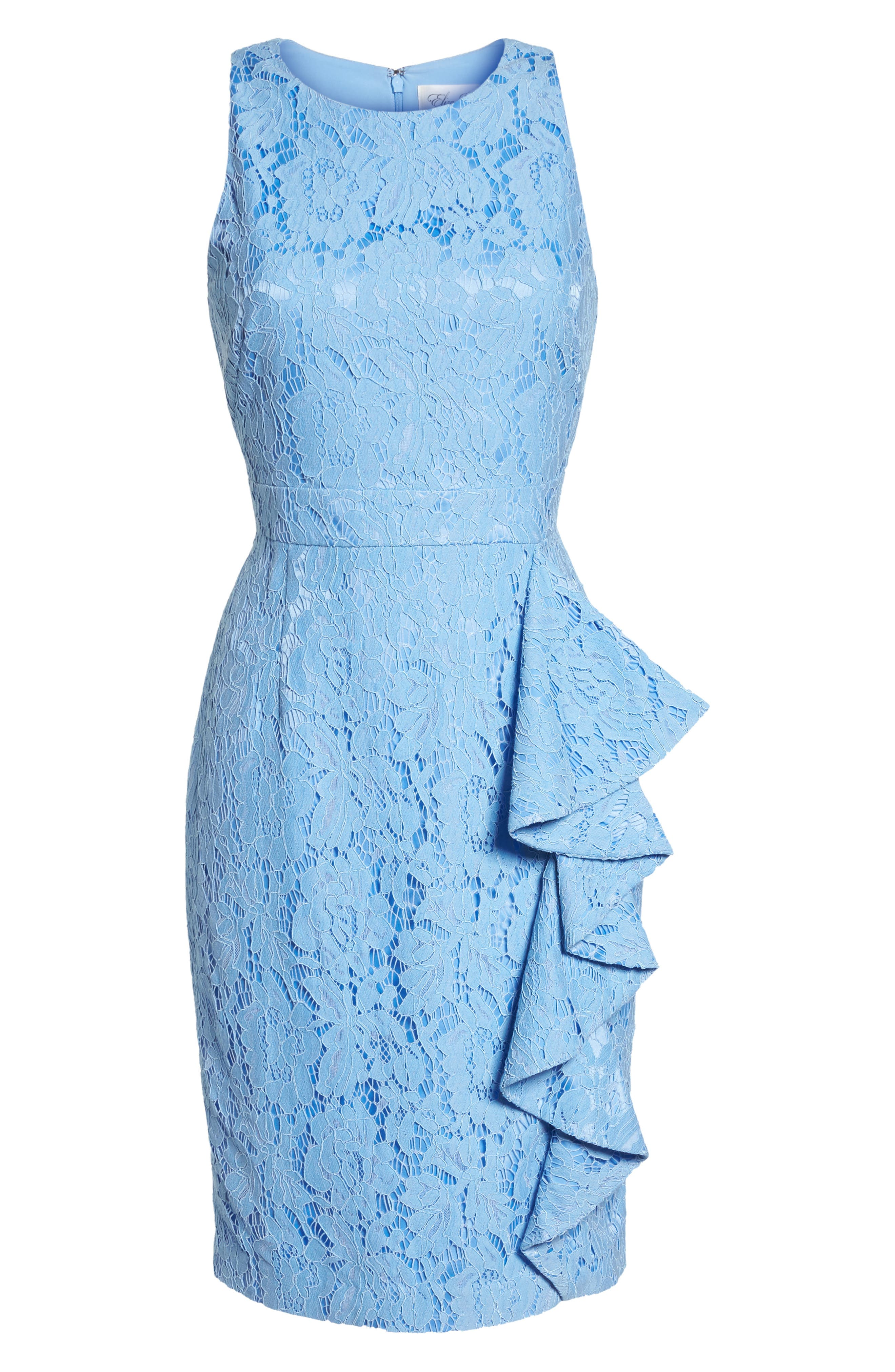 Sleeveless Ruffle Lace Sheath Dress,                             Alternate thumbnail 7, color,                             Blue