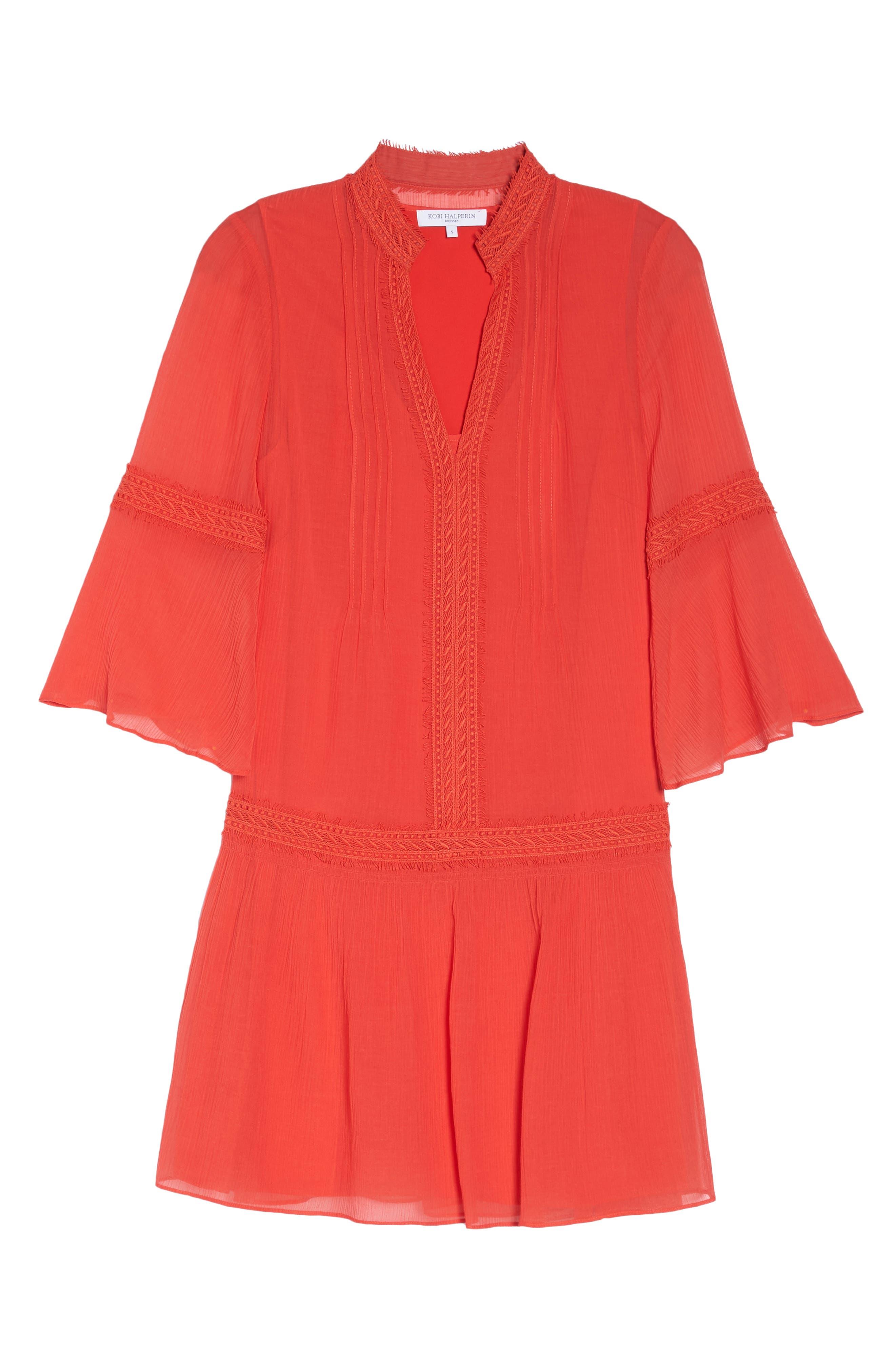 Mala Crinkle Shift Dress,                             Alternate thumbnail 7, color,                             Strawberry