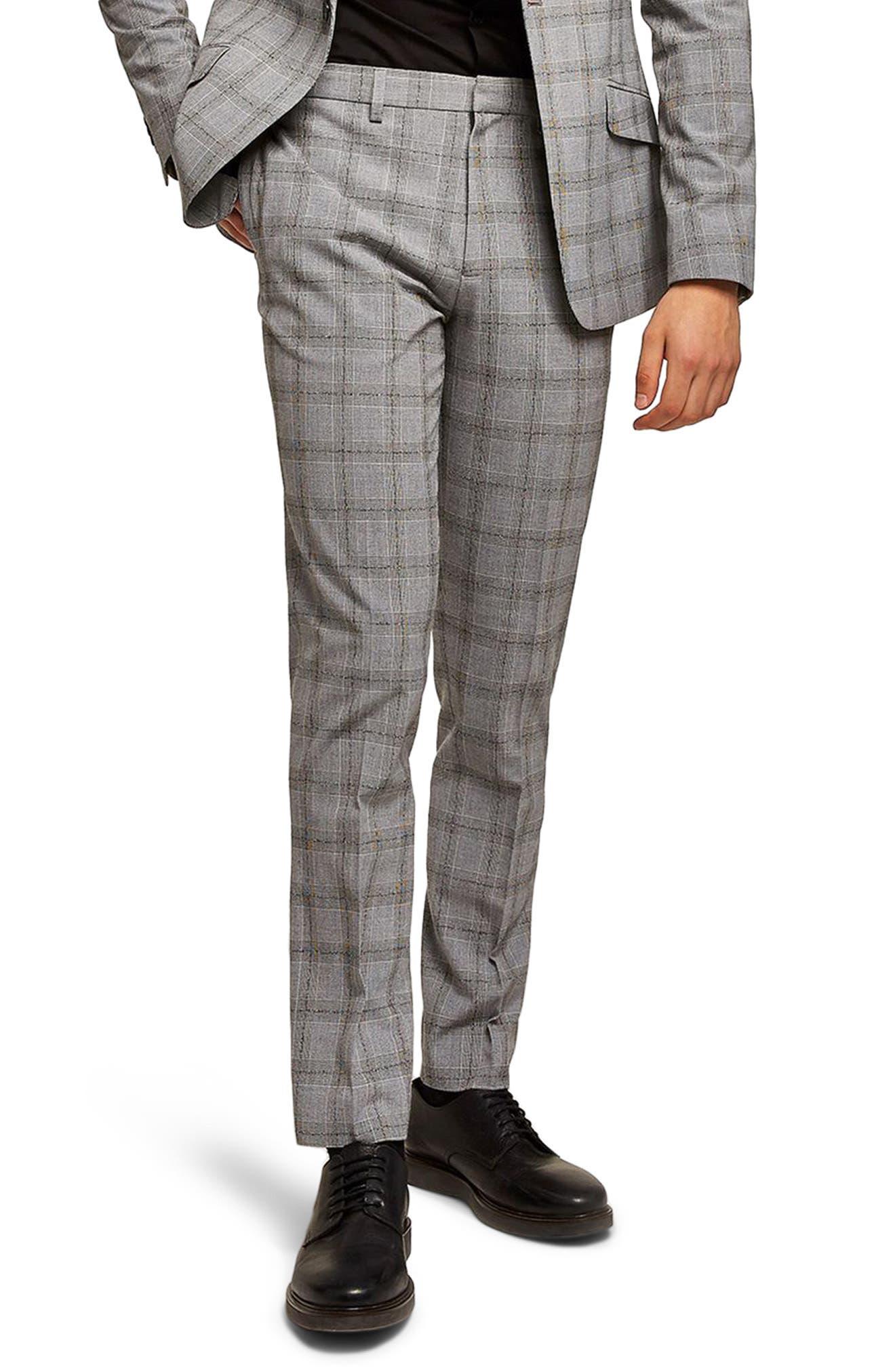 Check Suit Trousers,                         Main,                         color, Black