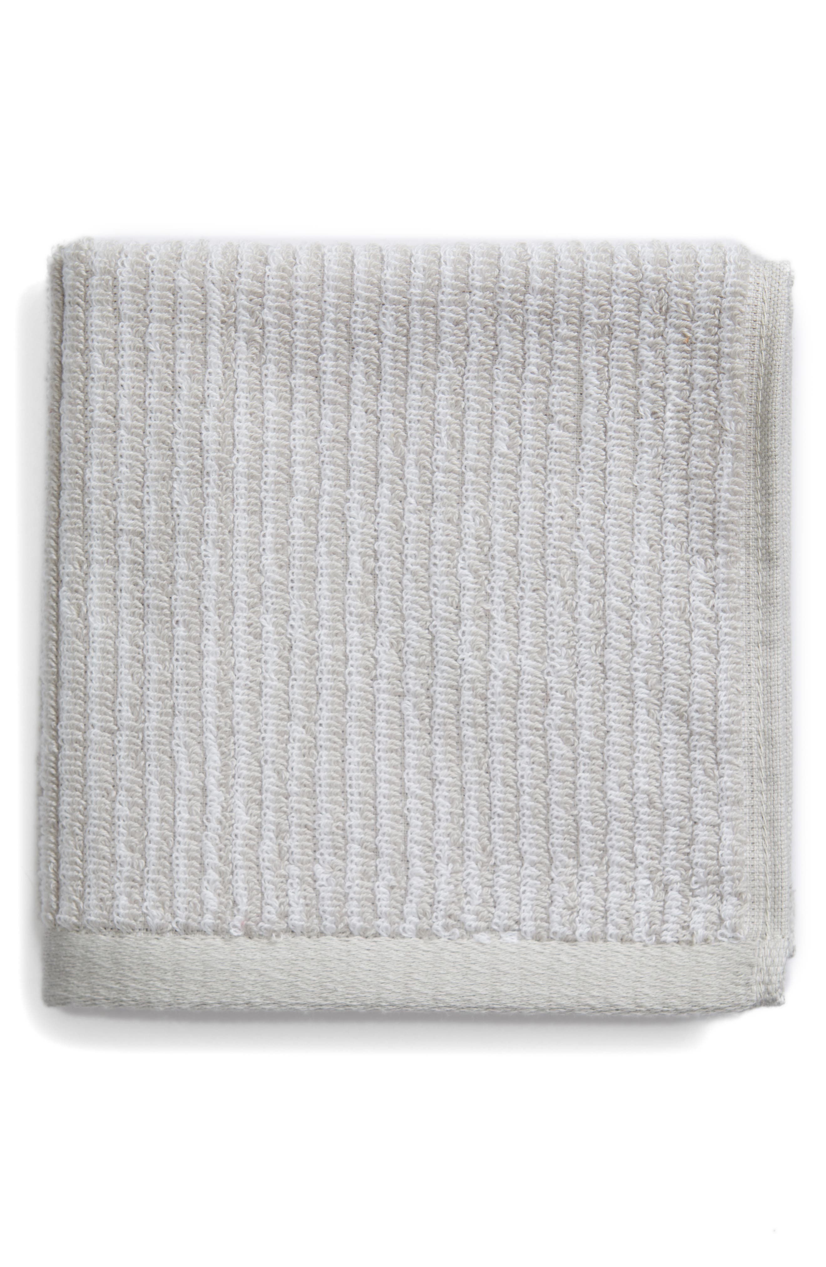 Ezra Stripe Washcloth,                             Main thumbnail 1, color,                             Grey Vapor
