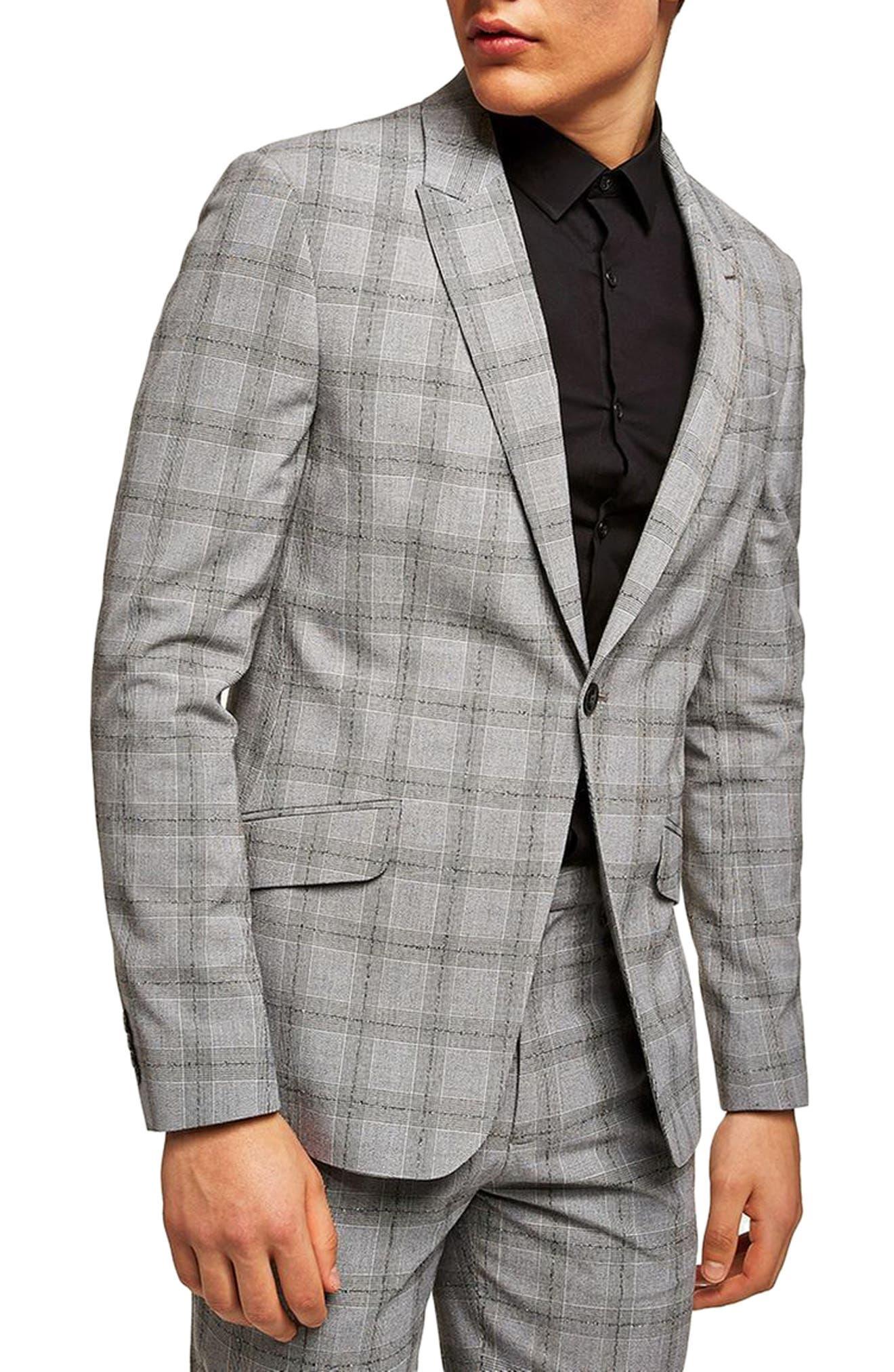 Topman Check Suit Jacket