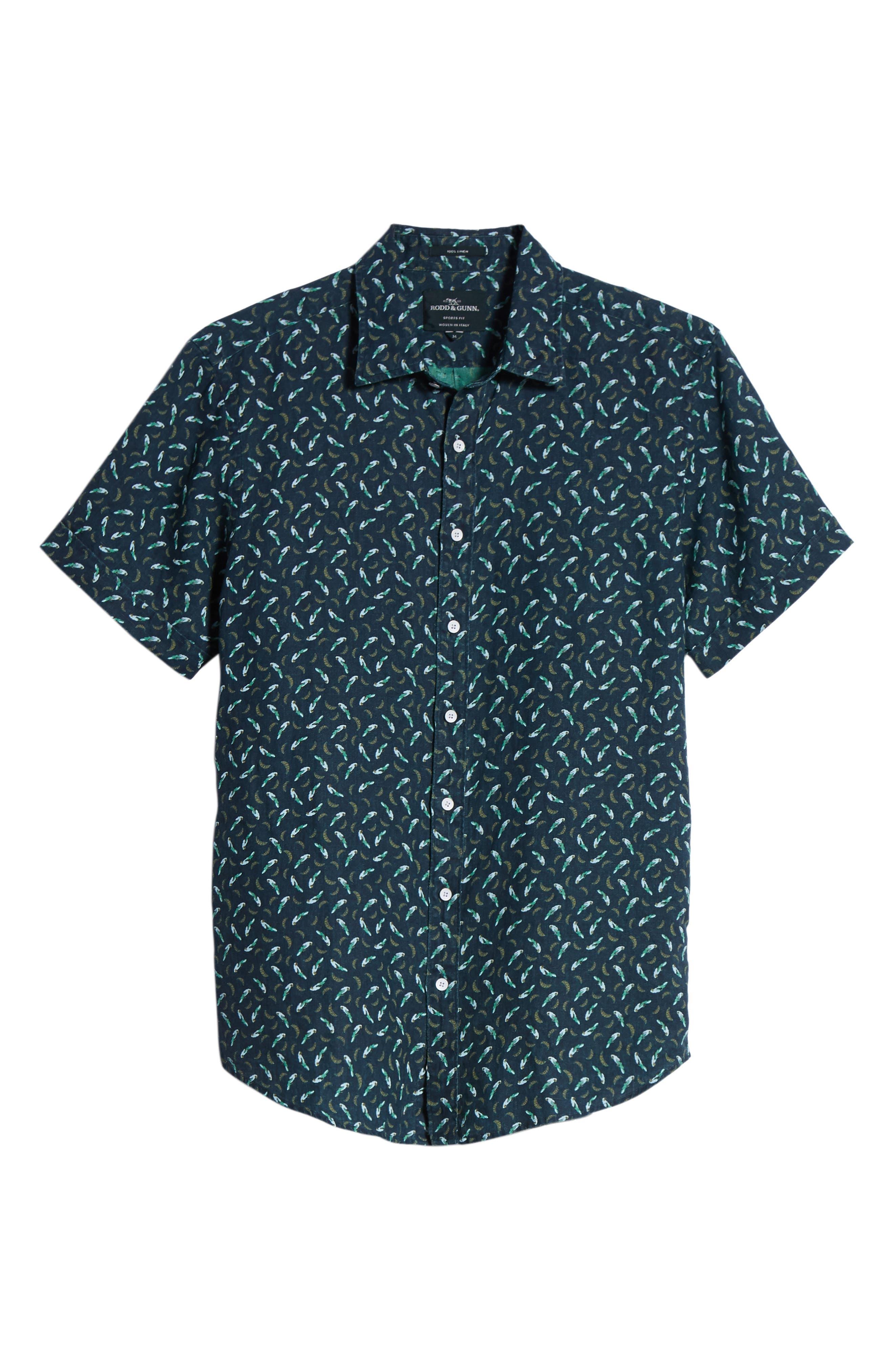 Rivas Avenue Linen Sport Shirt,                             Alternate thumbnail 6, color,                             Forest