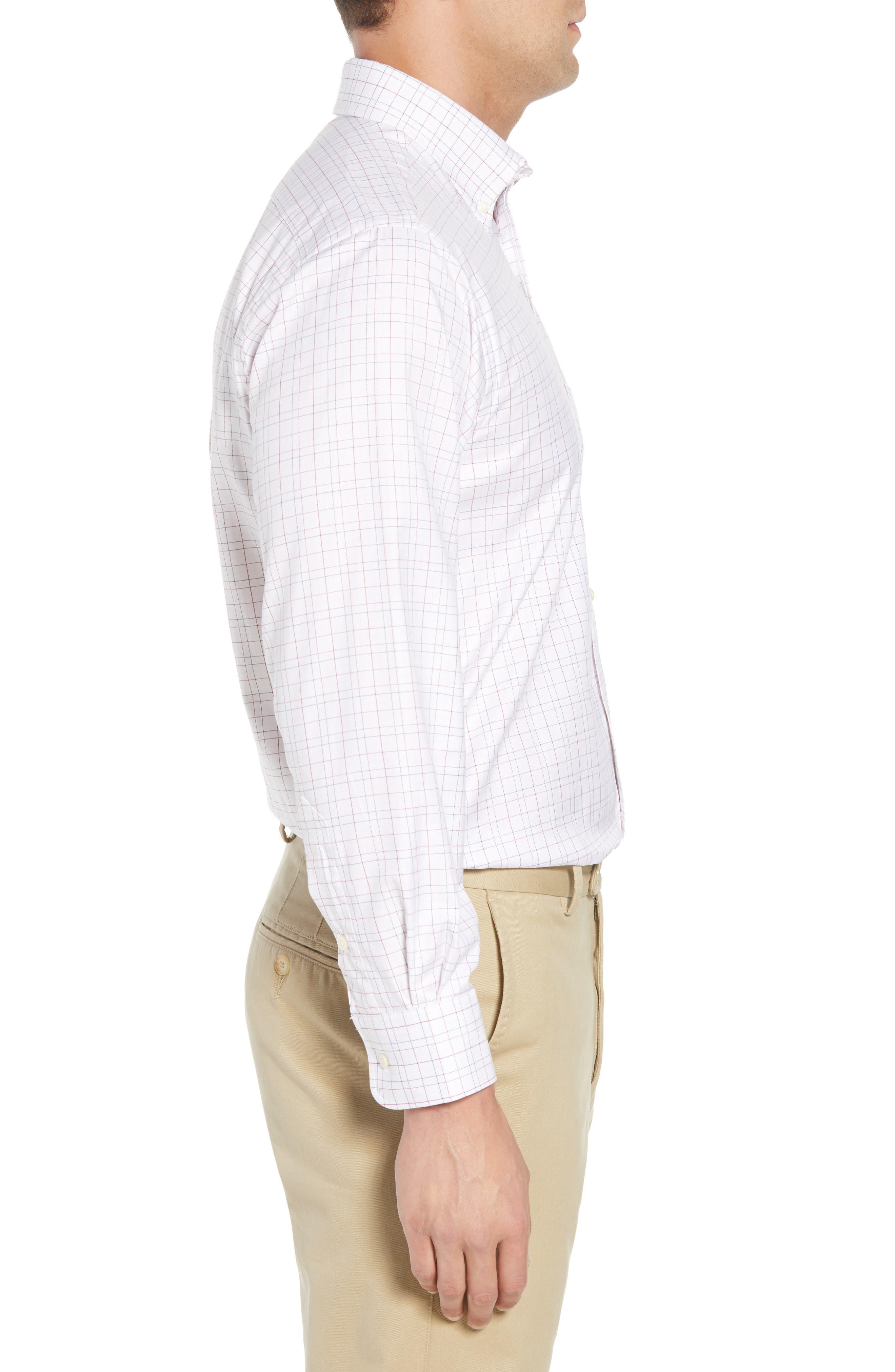 Tailored Fit Plaid Dress Shirt,                             Alternate thumbnail 4, color,                             White/ Burgundy