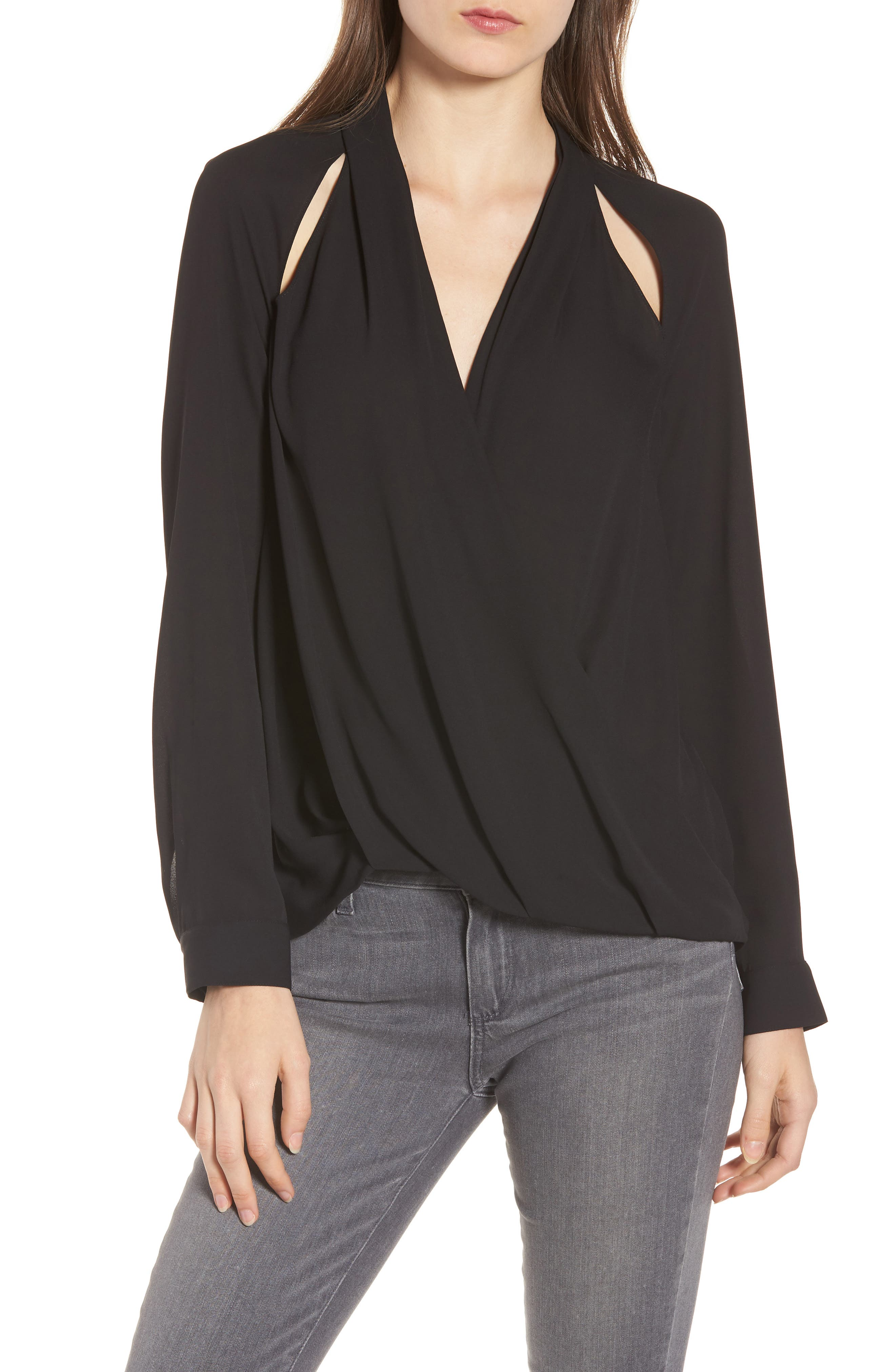 Cutout Surplice Top,                             Main thumbnail 1, color,                             Black