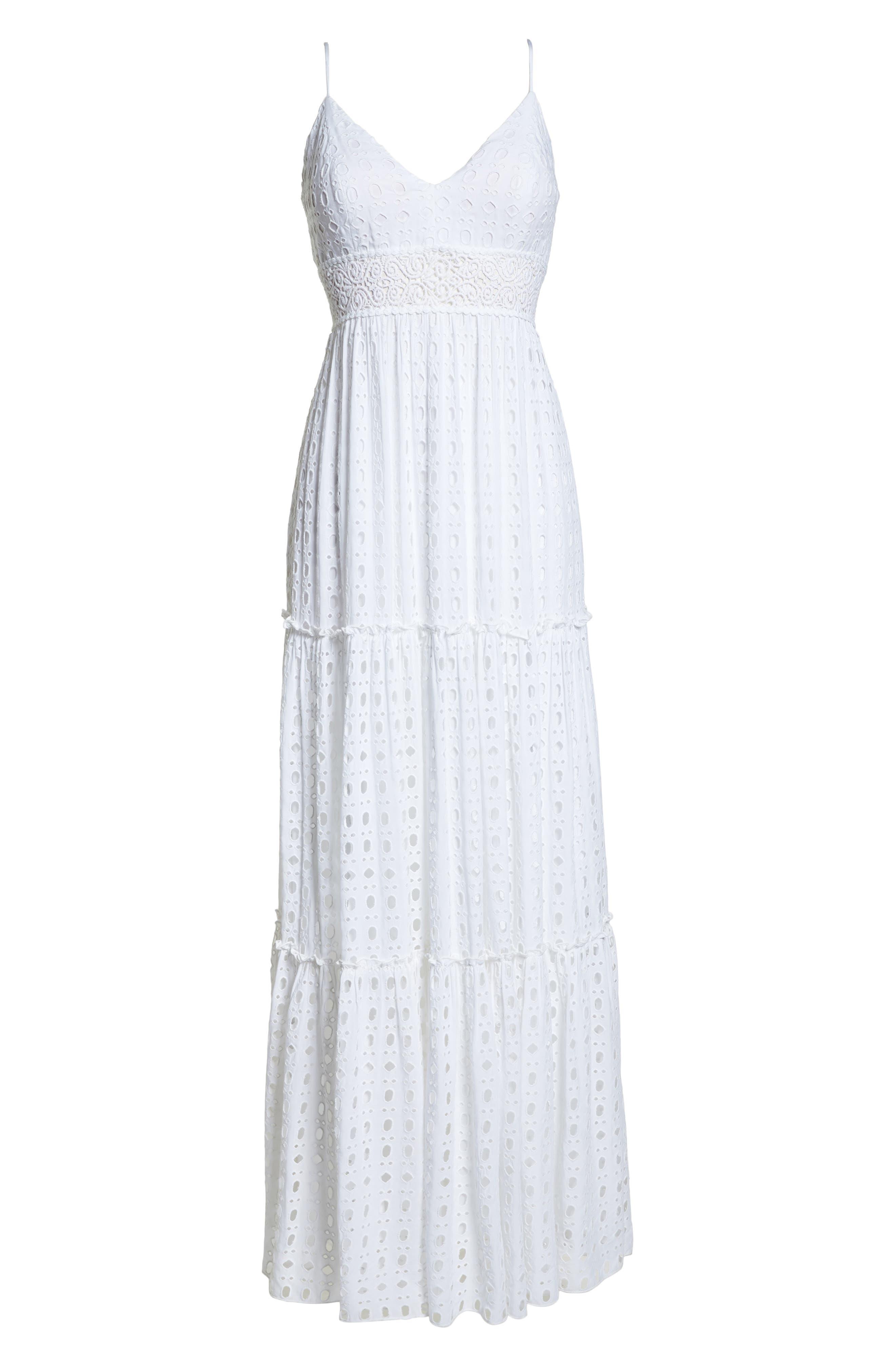 Melody Maxi Dress,                             Alternate thumbnail 6, color,                             Resort White Eyelet