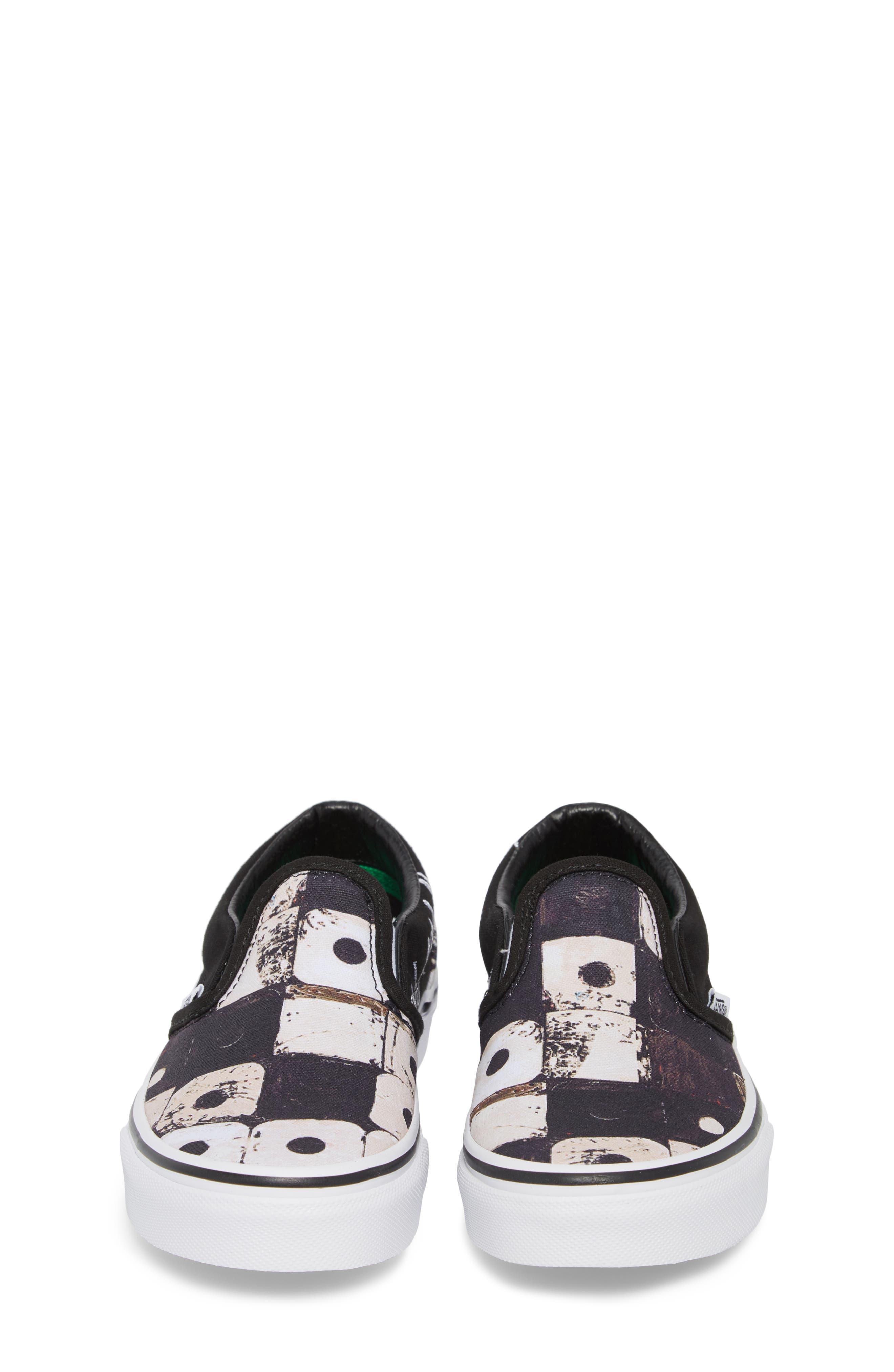 'Classic' Slip-On Sneaker,                             Alternate thumbnail 5, color,                             Black