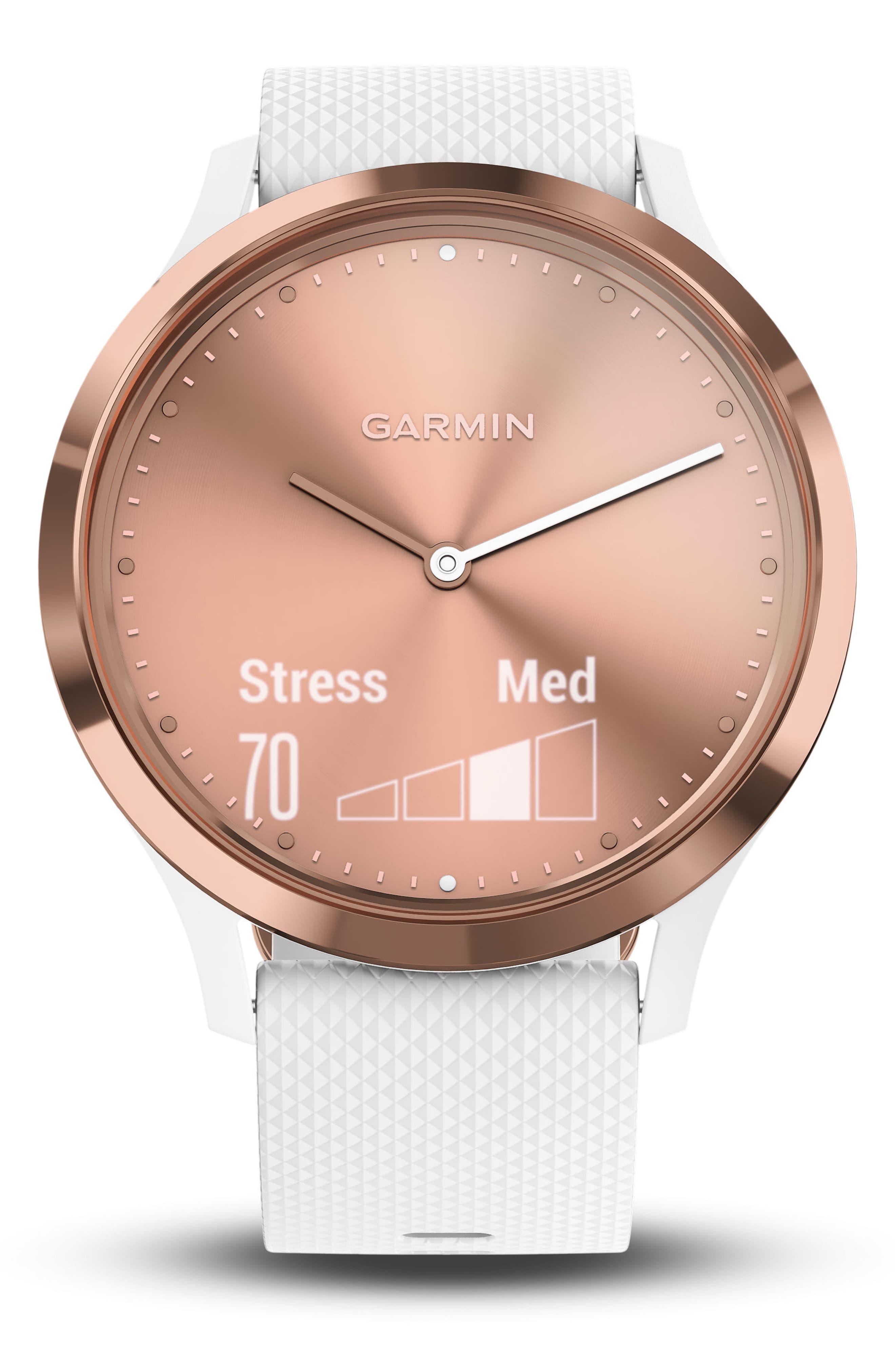 Vivomove HR Large Sport Hybrid Smart Watch,                             Alternate thumbnail 5, color,                             White/ Rose Gold/ Rose Gold