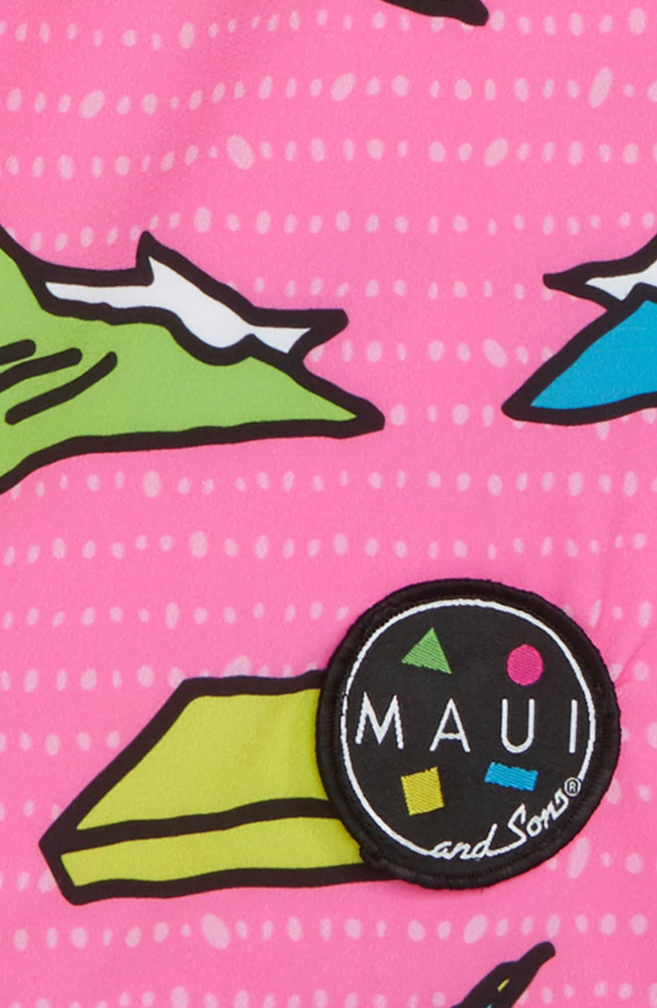 Choppa Print Board Shorts,                             Alternate thumbnail 3, color,                             Pink