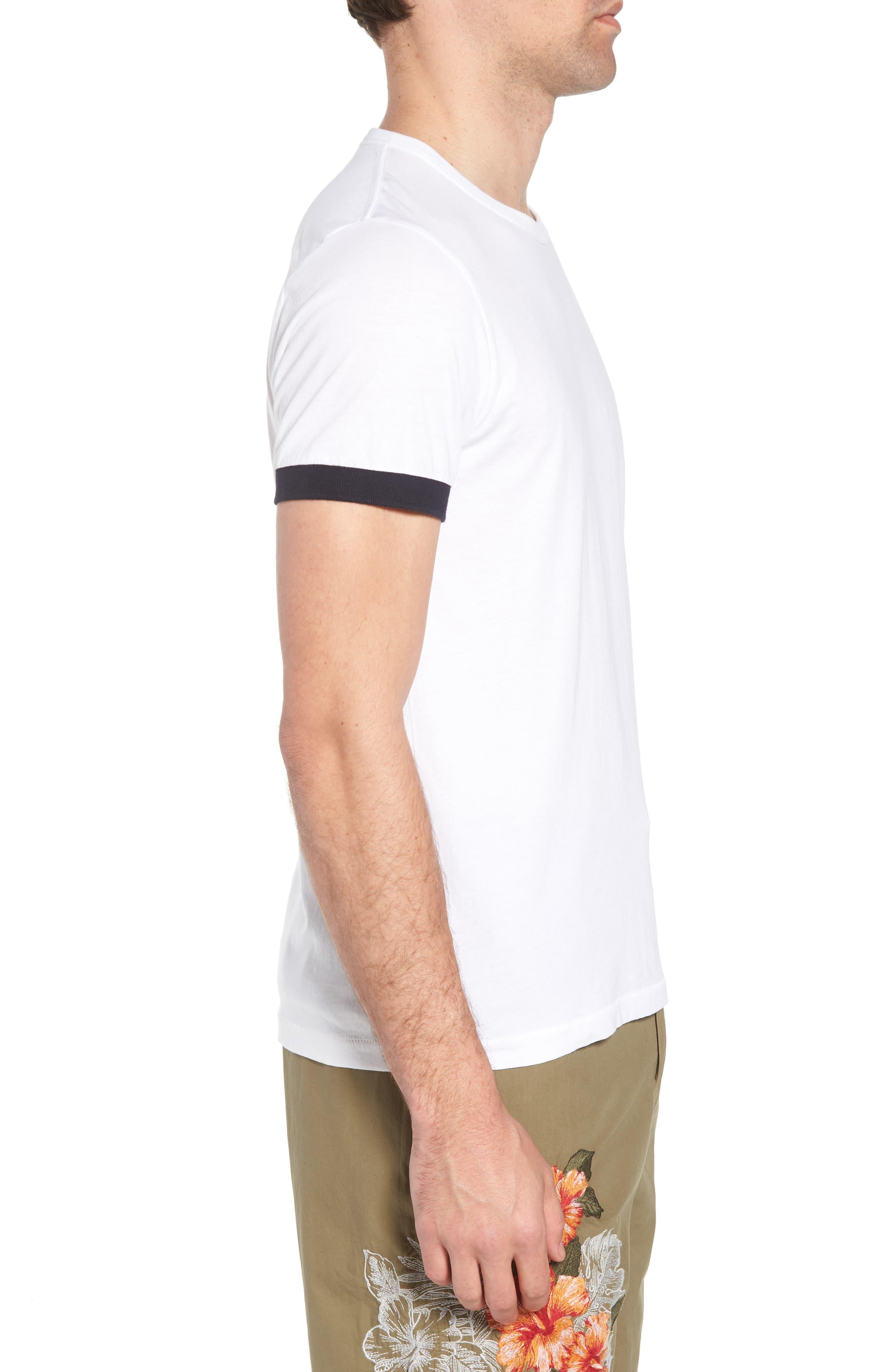 Summer Contrast Cuff T-Shirt,                             Alternate thumbnail 3, color,                             White Marine Blue