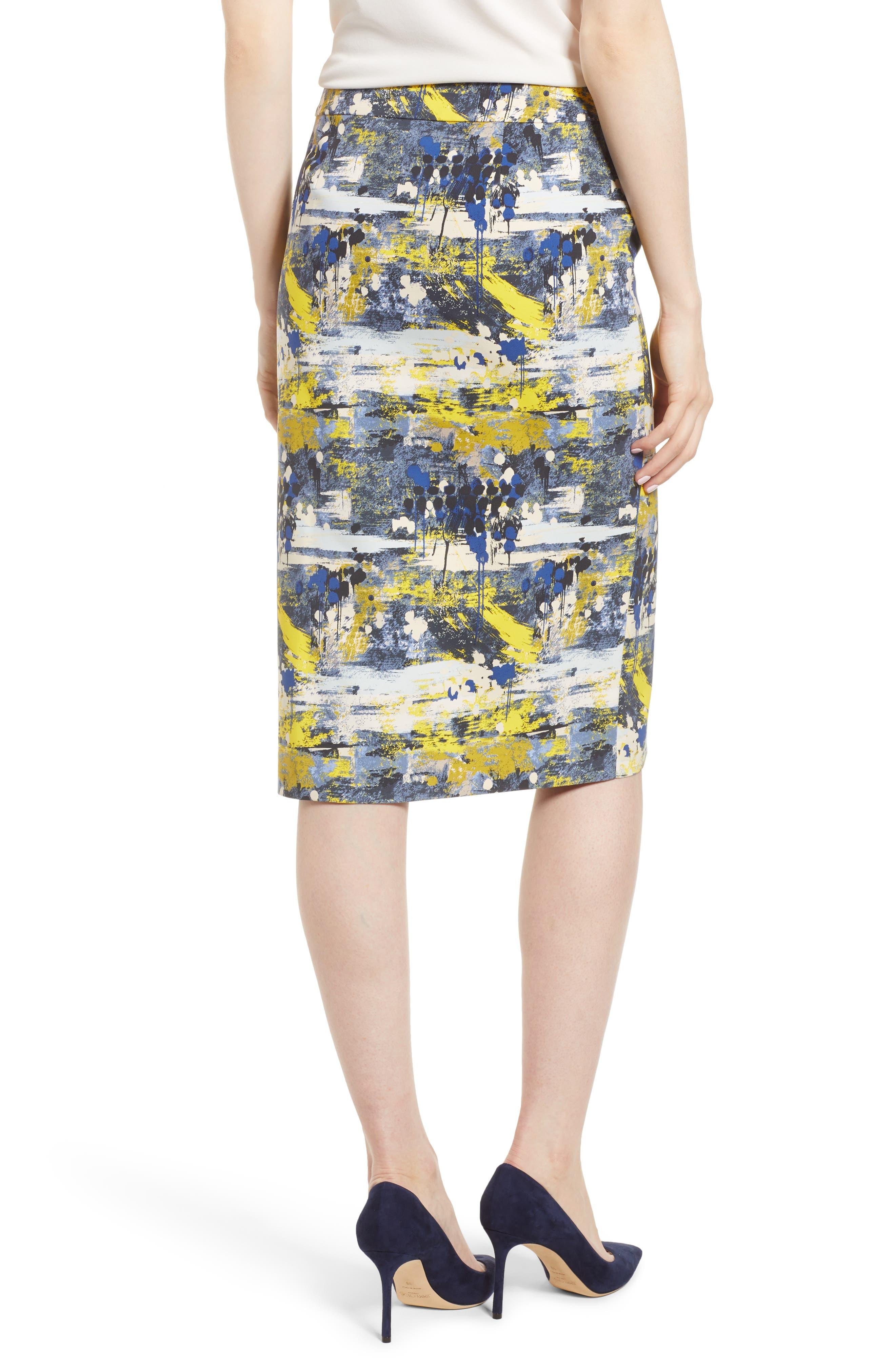 High Waist Skirt,                             Alternate thumbnail 2, color,                             Blue Dot Drip Print