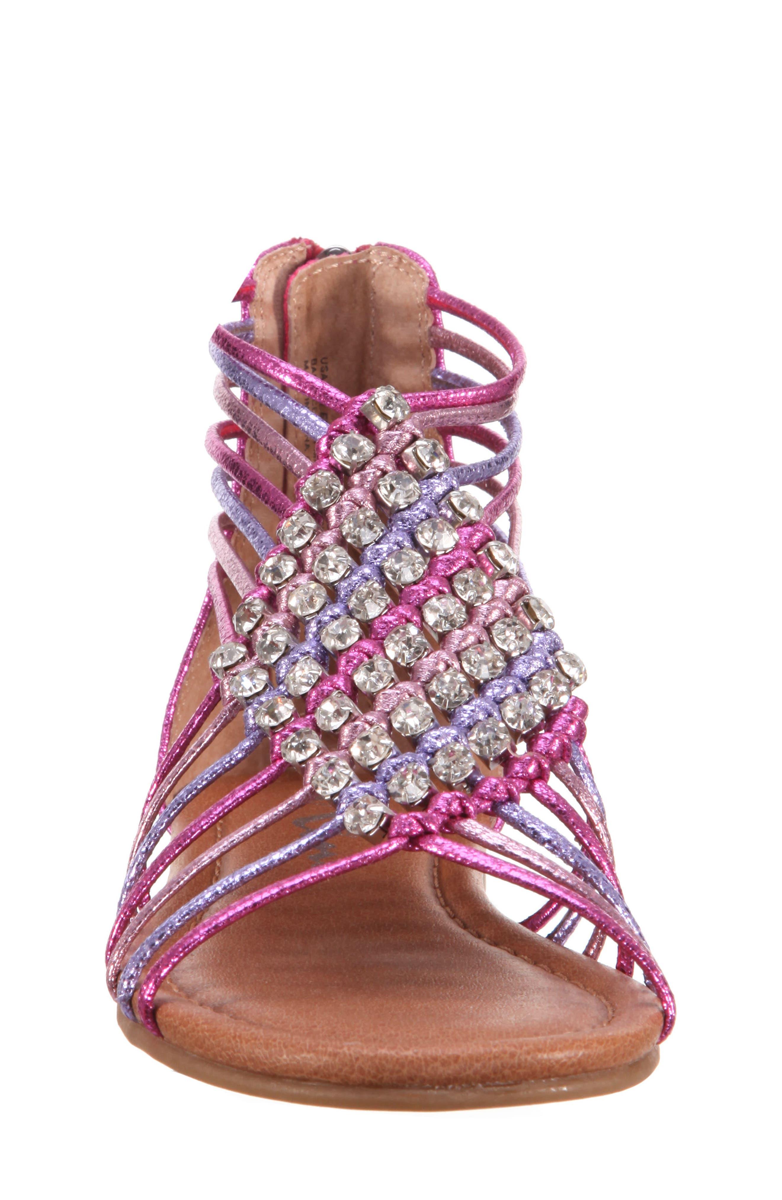 Karlee Embellished Sandal,                             Alternate thumbnail 4, color,                             Pink Multi Metallic Crackle