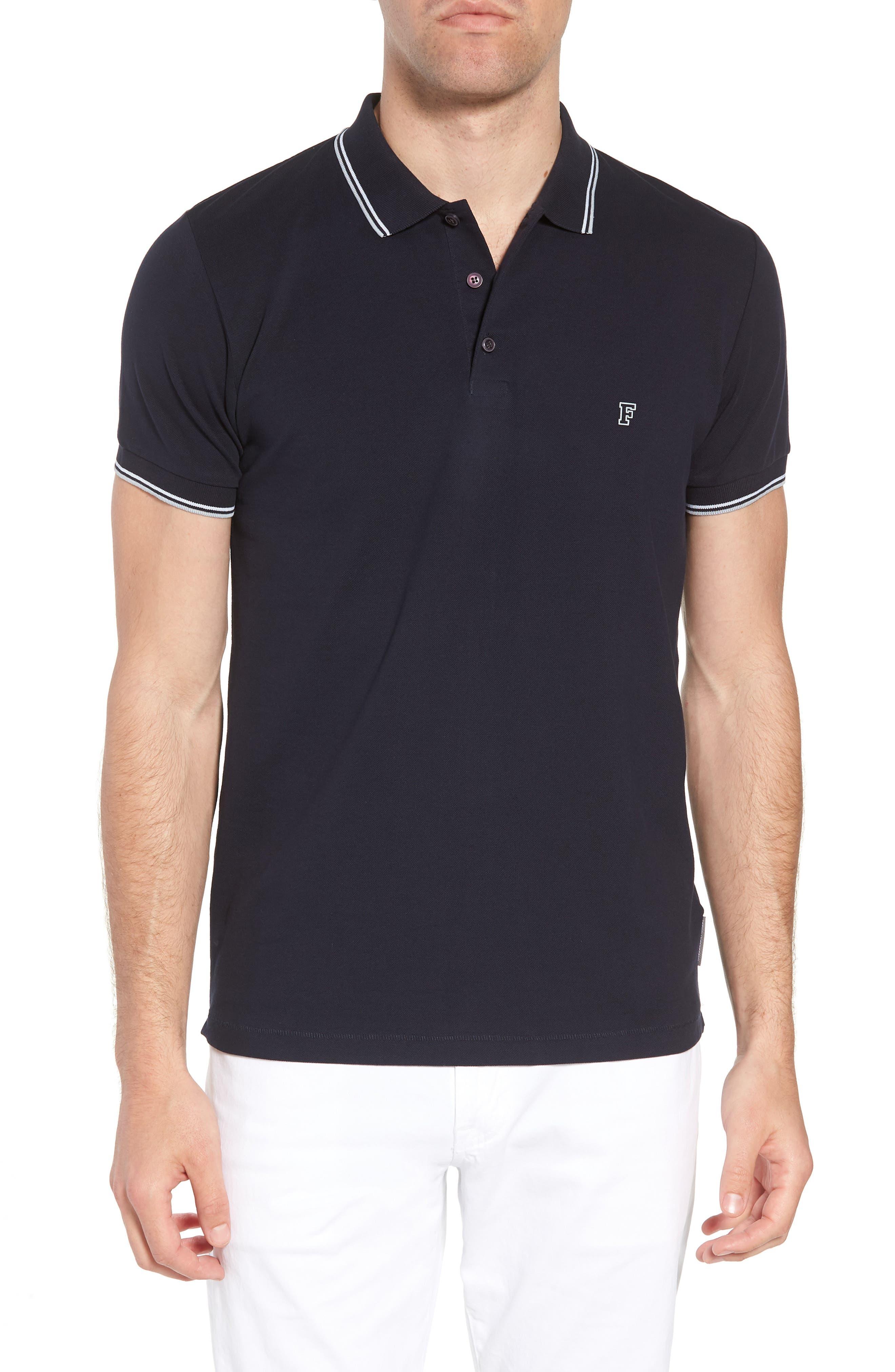 Cotton Polo Shirt,                         Main,                         color, Marine Blue