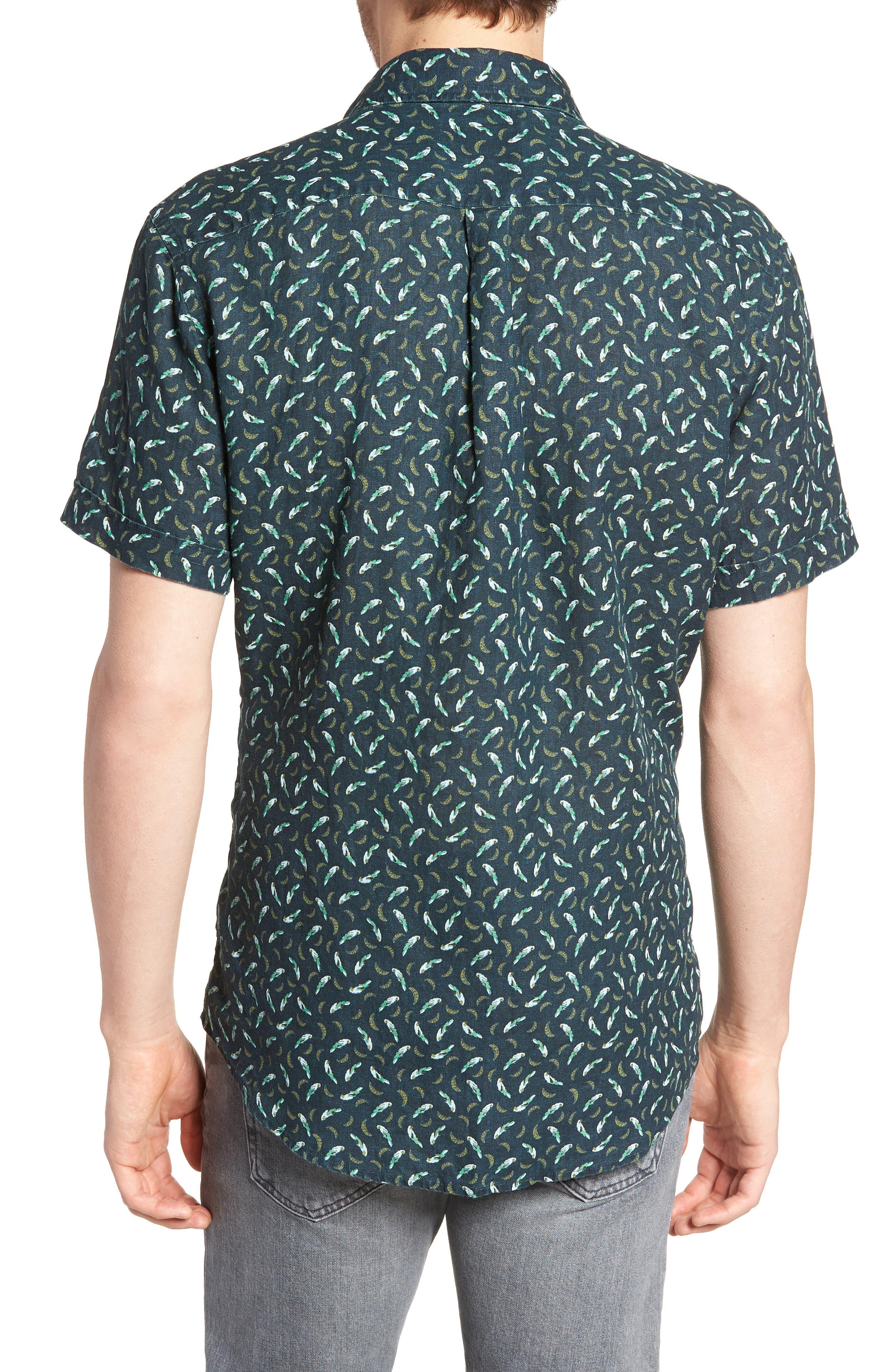 Rivas Avenue Linen Sport Shirt,                             Alternate thumbnail 3, color,                             Forest
