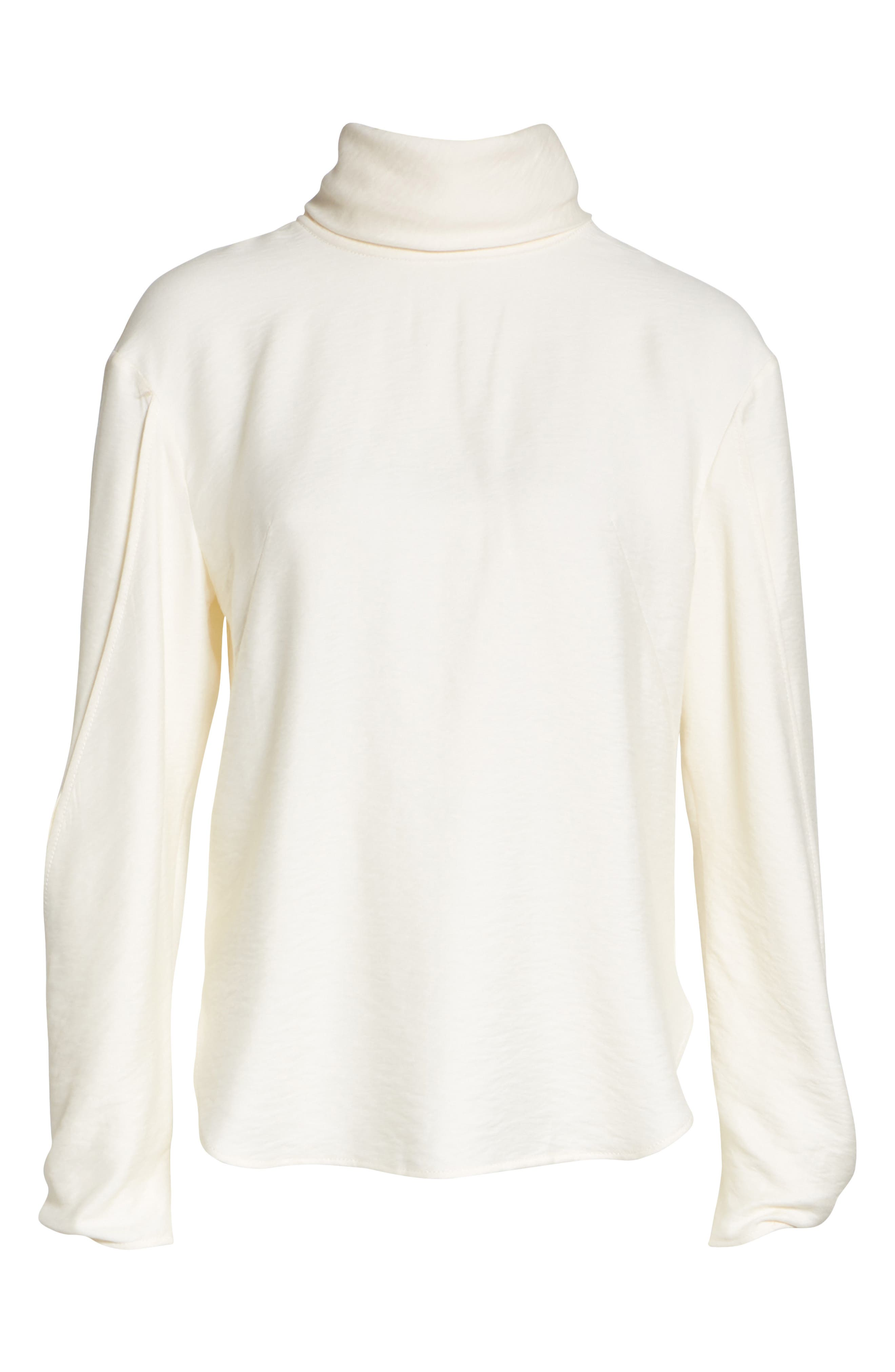 Jessie High Neck Blouse,                             Alternate thumbnail 6, color,                             Rayon Ivory