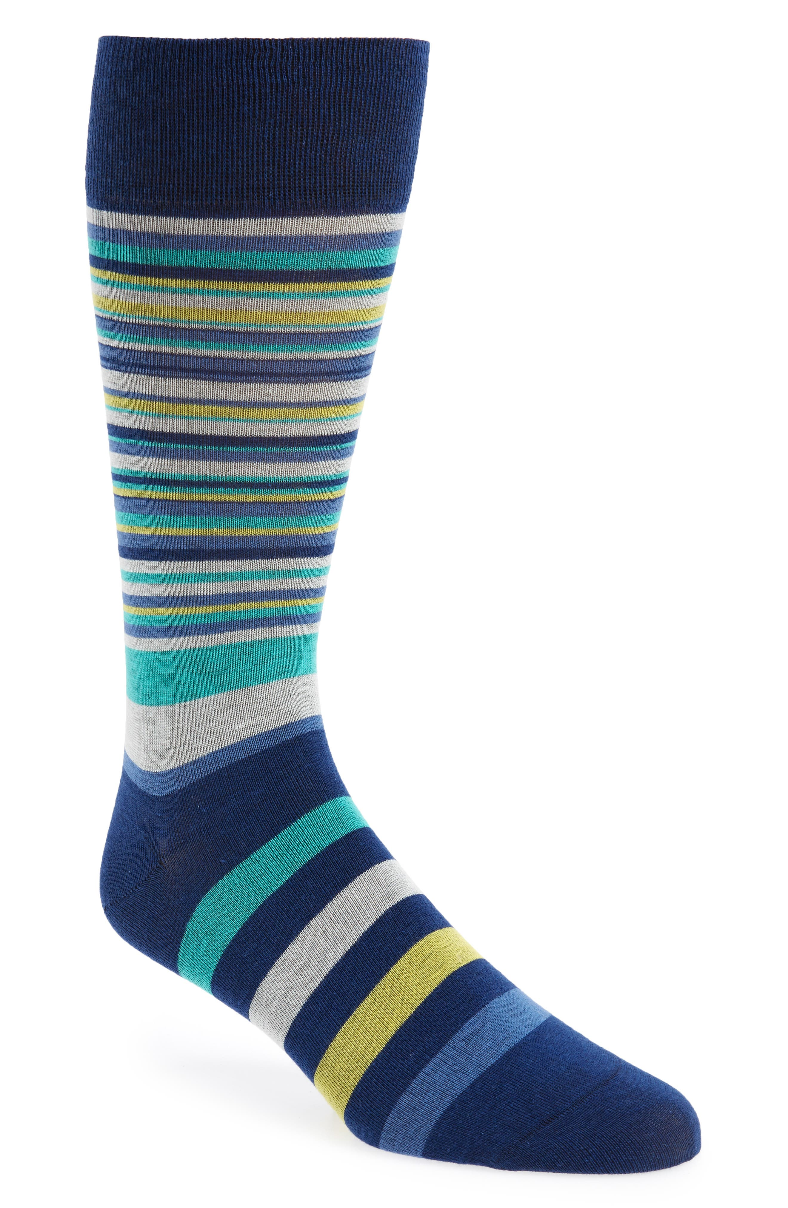 Town Stripe Crew Socks,                         Main,                         color, Navy Peony