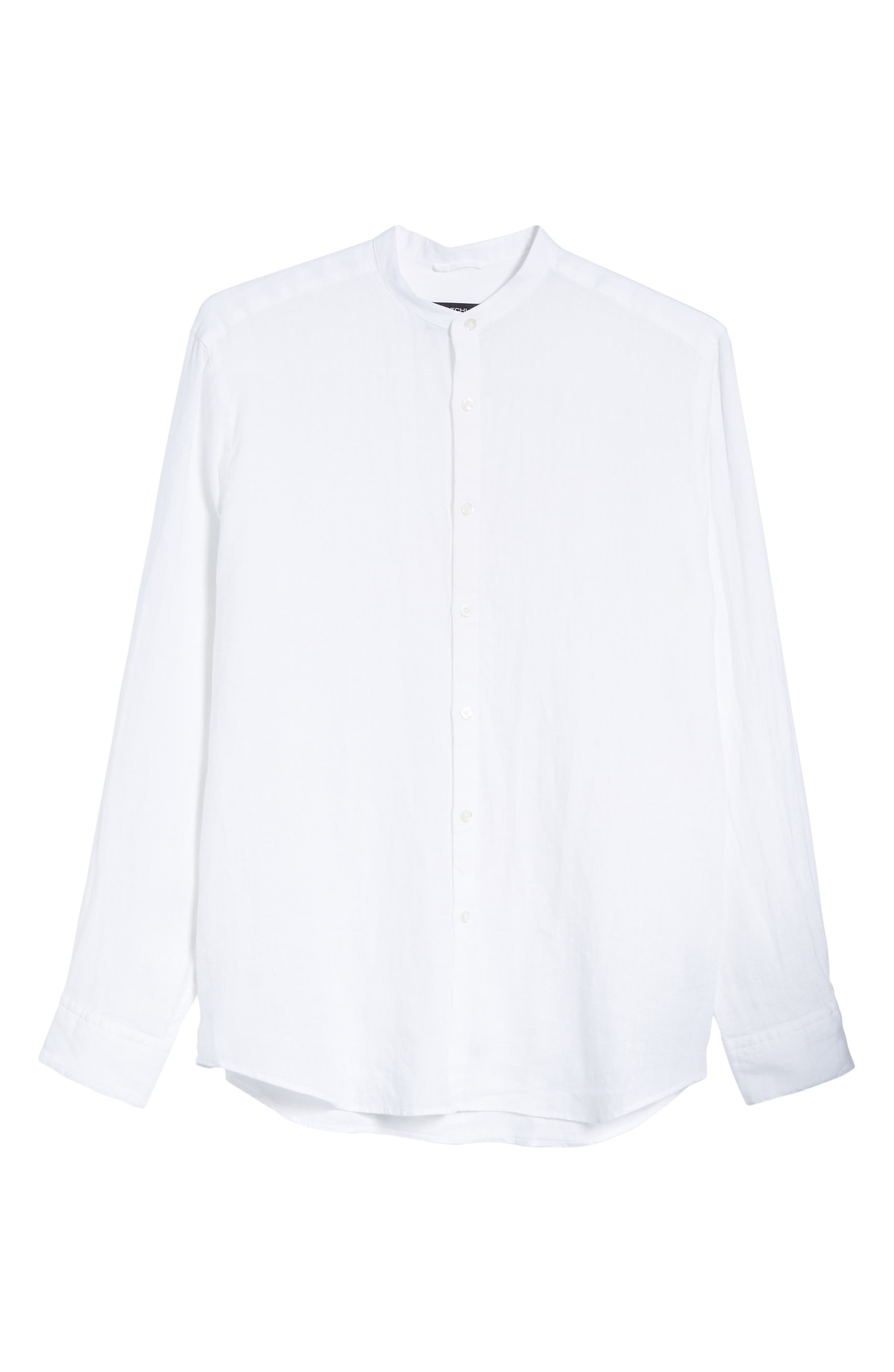 Classic Fit Band Collar Sport Shirt,                             Alternate thumbnail 6, color,                             White