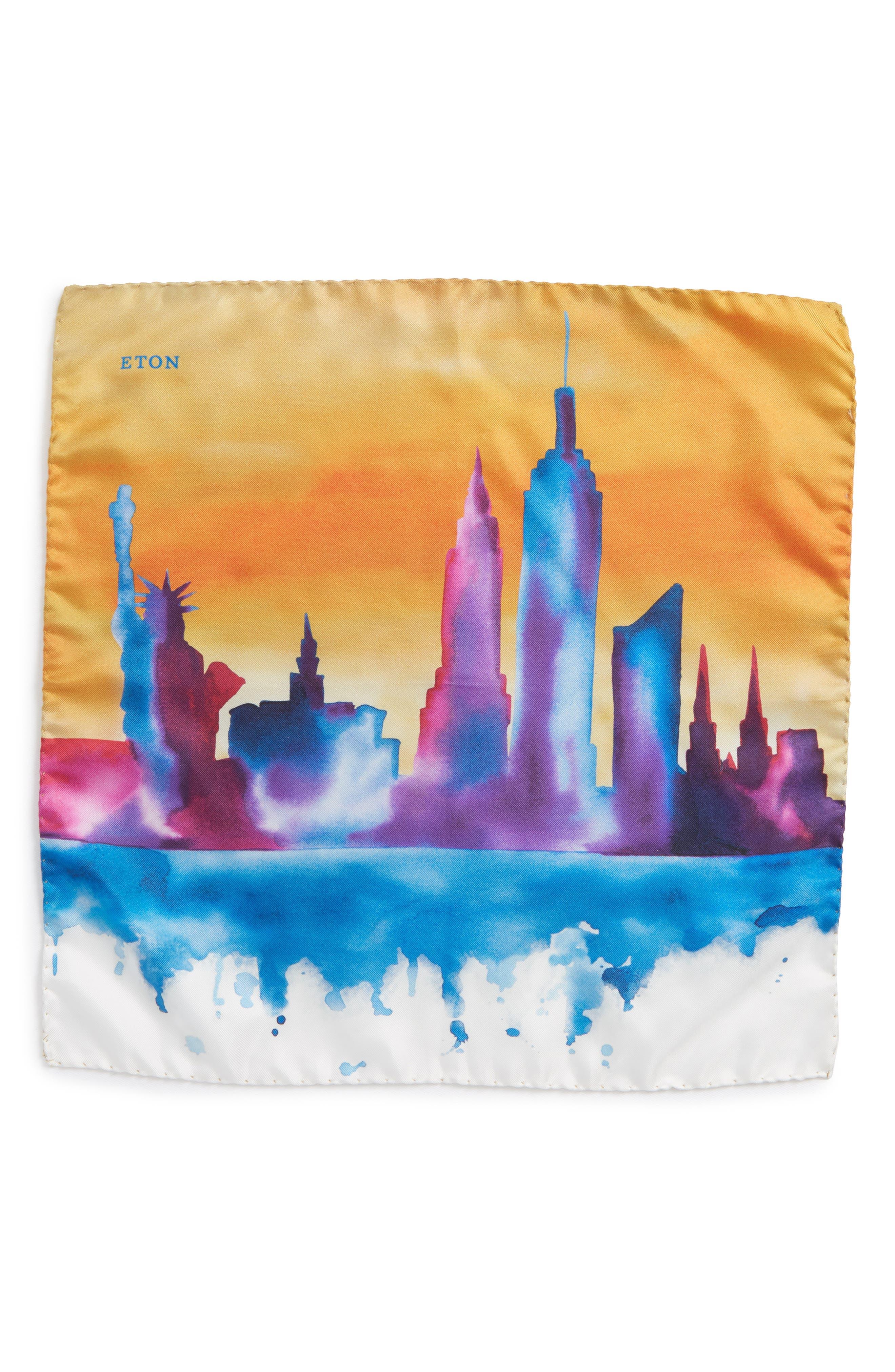 New York Skyline Silk Pocket Square,                             Alternate thumbnail 2, color,                             Orange