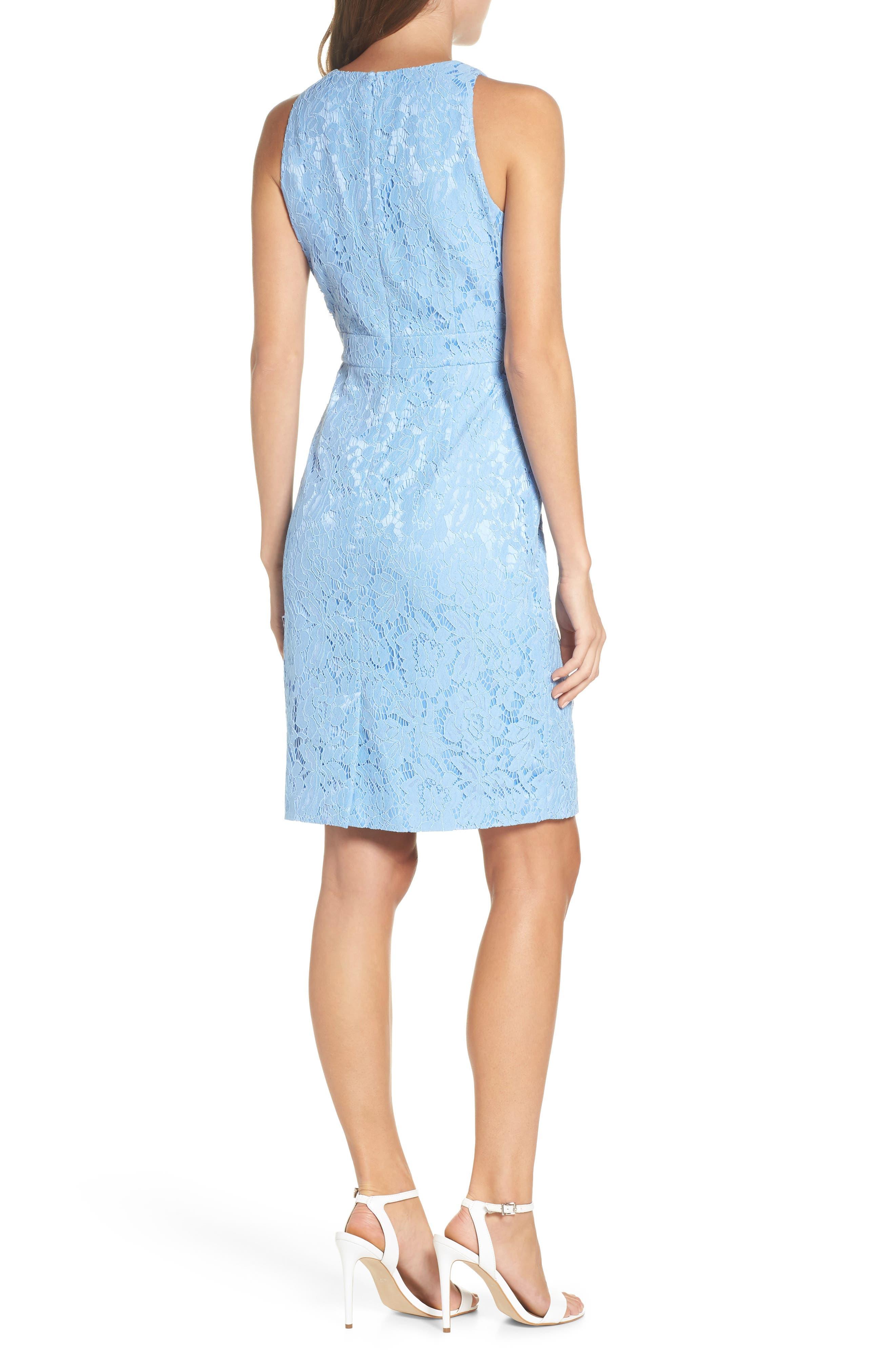 Sleeveless Ruffle Lace Sheath Dress,                             Alternate thumbnail 2, color,                             Blue