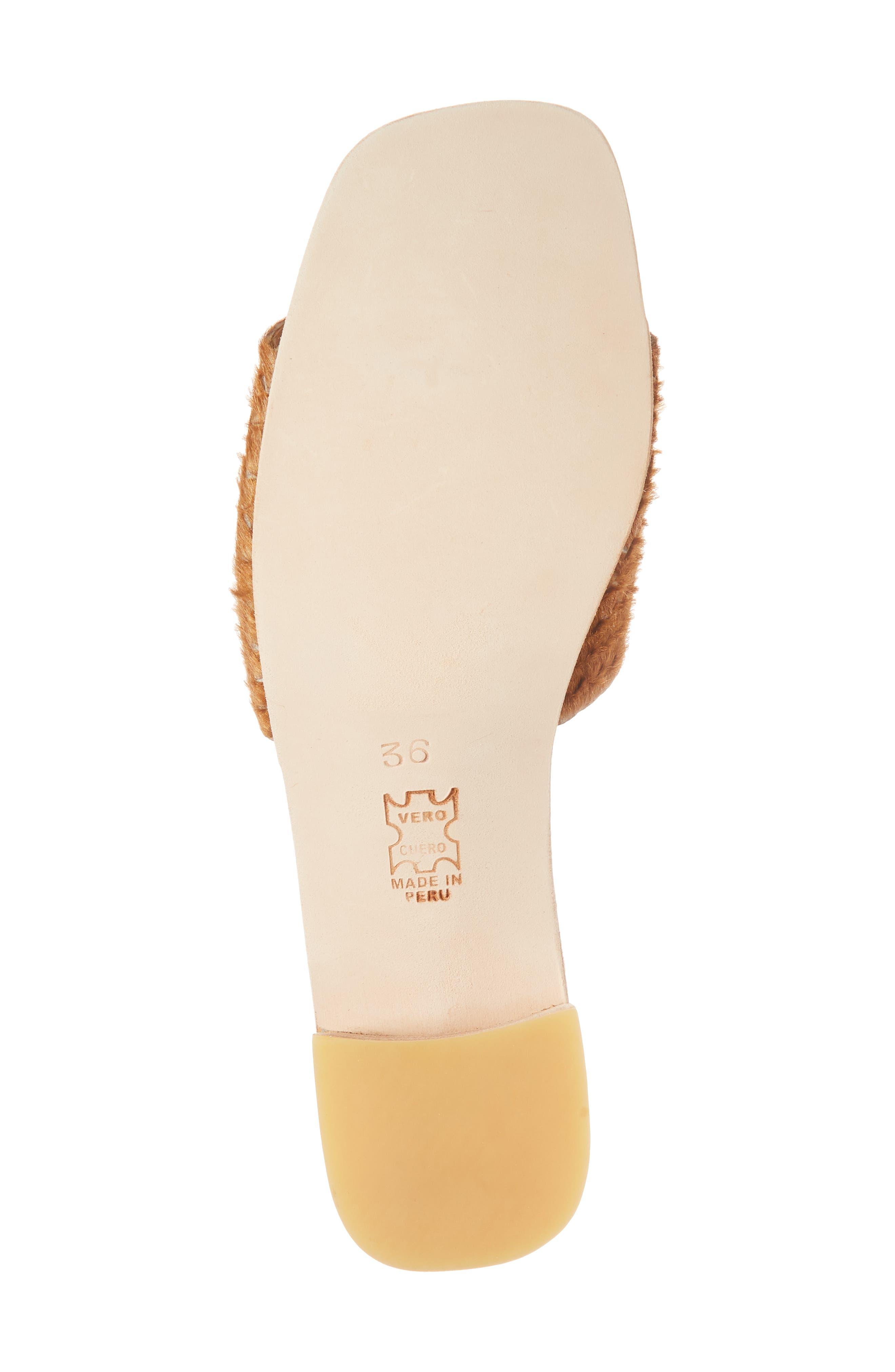 Genuine Calf Hair Sandal,                             Alternate thumbnail 6, color,                             Caramel Braided Calf Hair