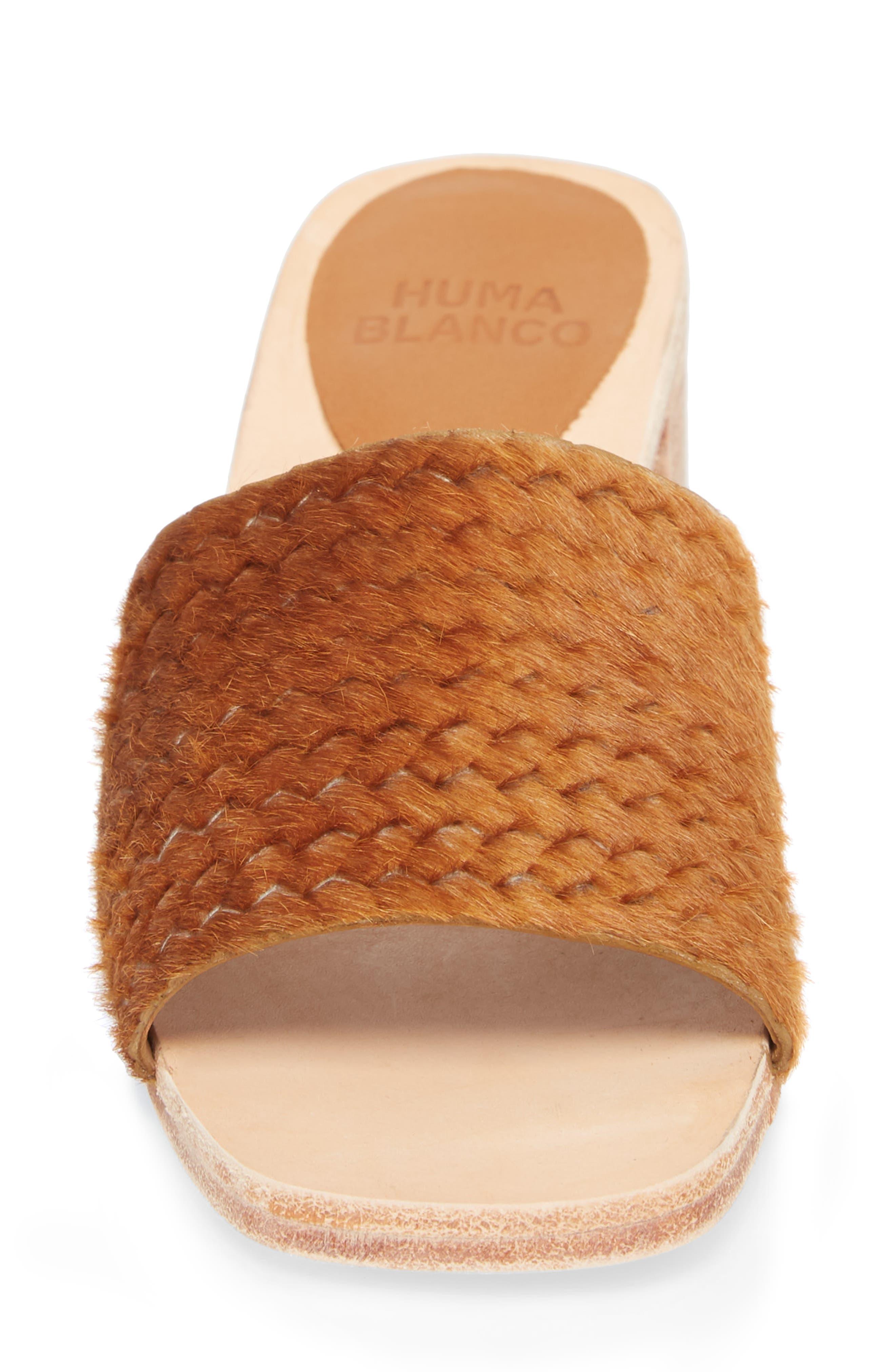 Genuine Calf Hair Sandal,                             Alternate thumbnail 4, color,                             Caramel Braided Calf Hair
