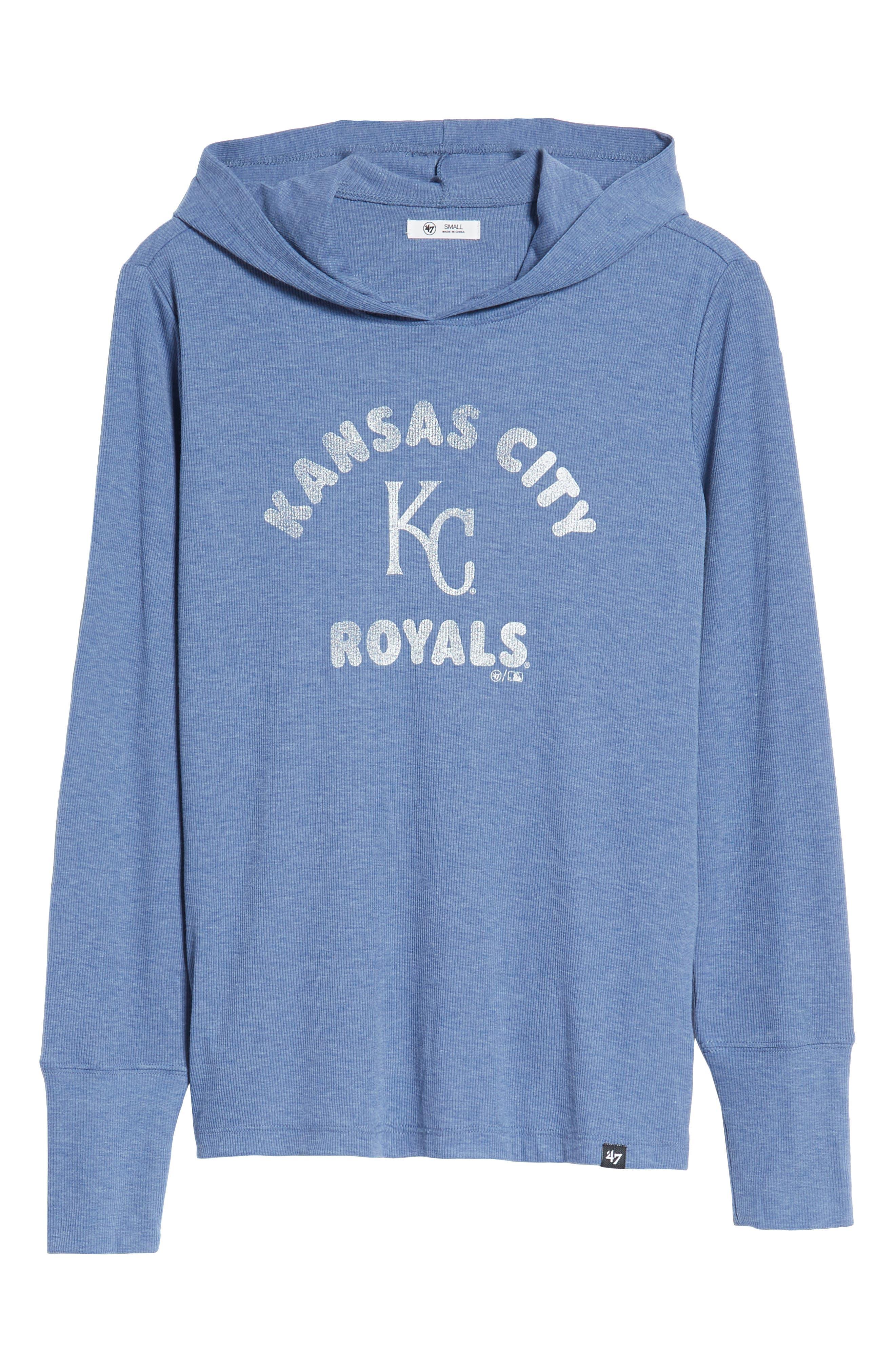 Campbell Kansas City Royals Rib Knit Hooded Top,                             Alternate thumbnail 7, color,                             Bleacher Blue