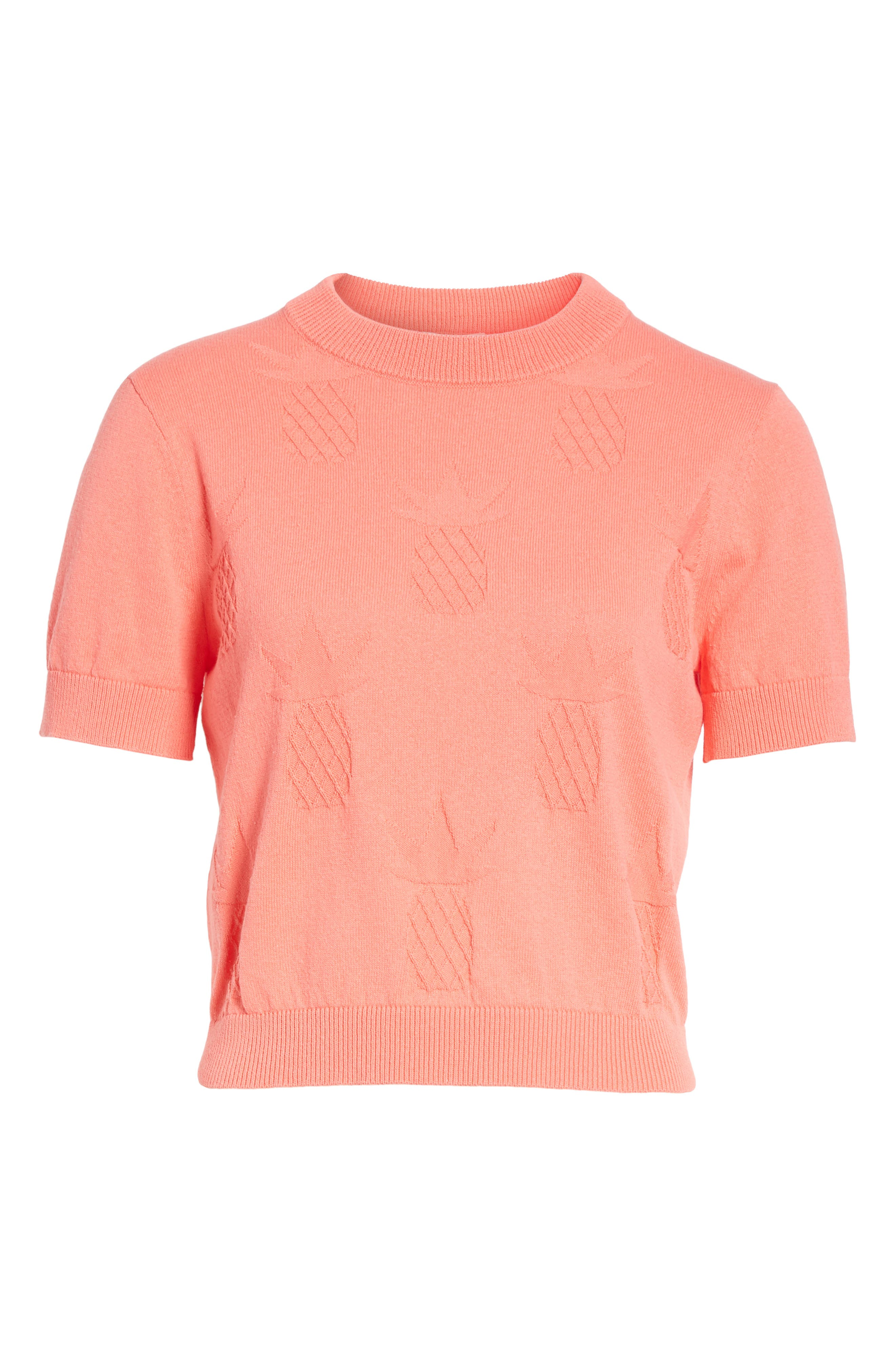pineapple textured sweater,                             Alternate thumbnail 6, color,                             Apricot Sorbet