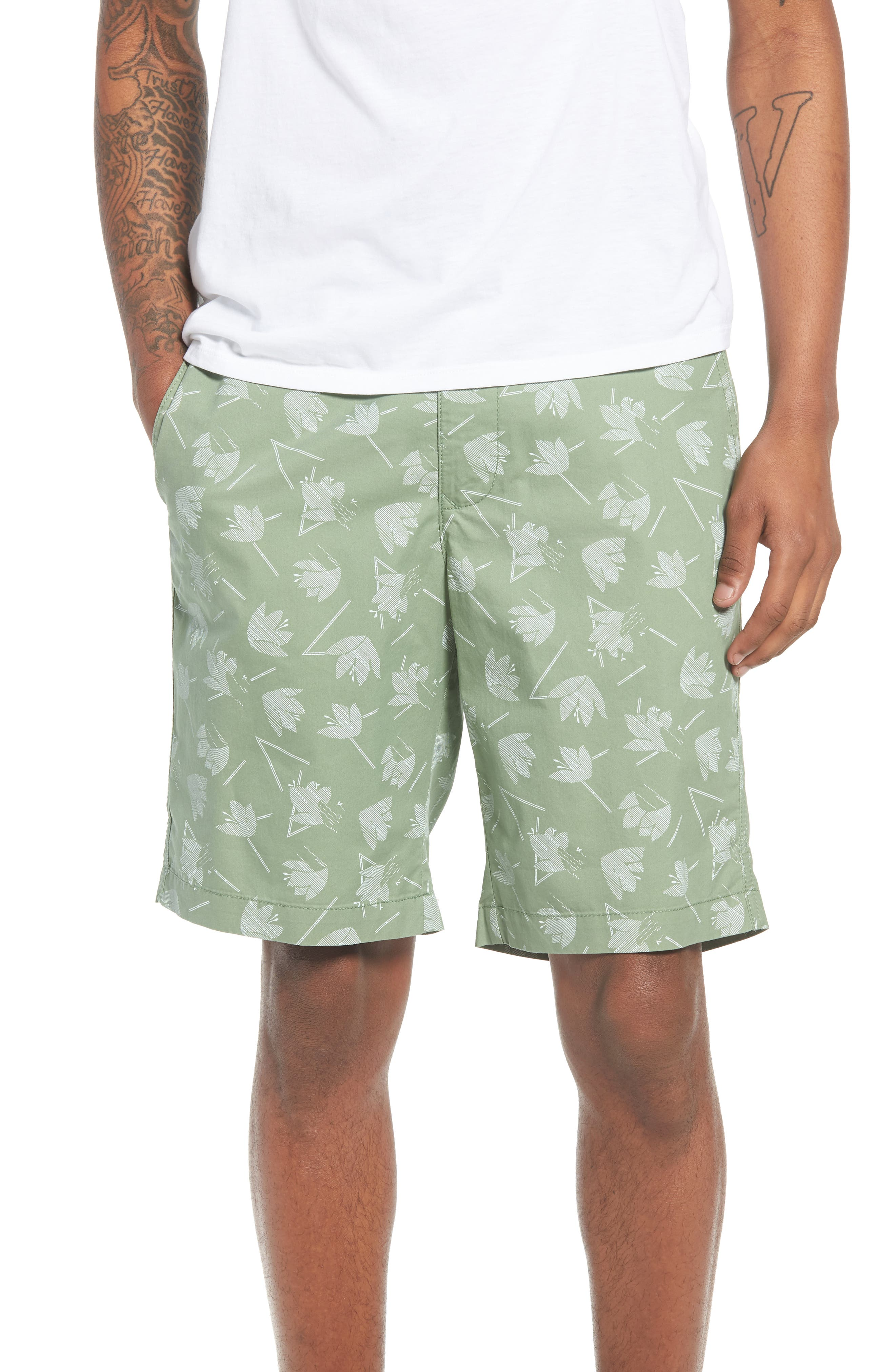 Deco Floral Print Shorts,                             Main thumbnail 1, color,                             Green Hedge Deco Floral