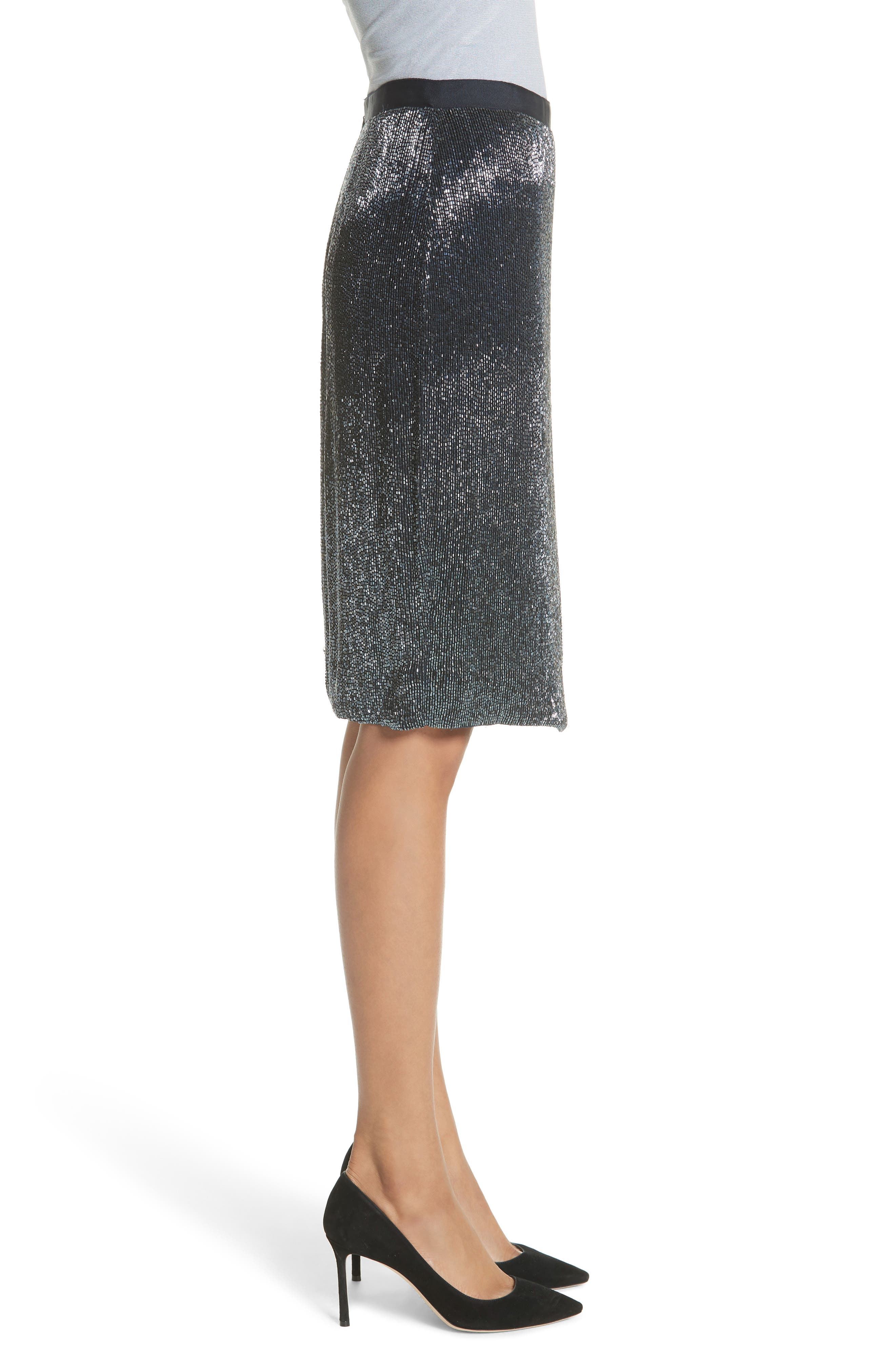 Edryce Beaded Pencil Skirt,                             Alternate thumbnail 5, color,                             Dark Navy