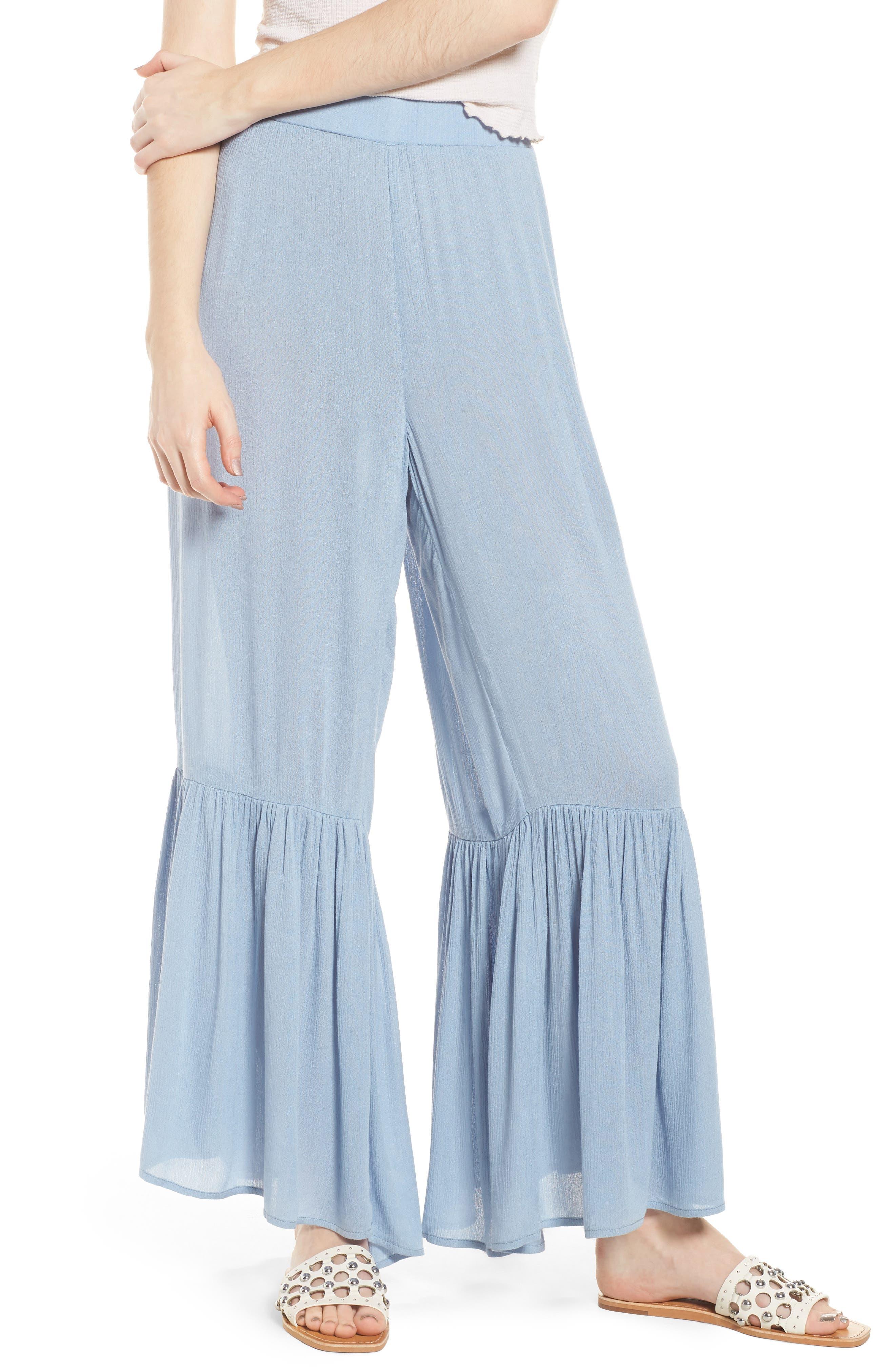 Mystique Ruffle Hem Beach Pants,                             Main thumbnail 1, color,                             Blue