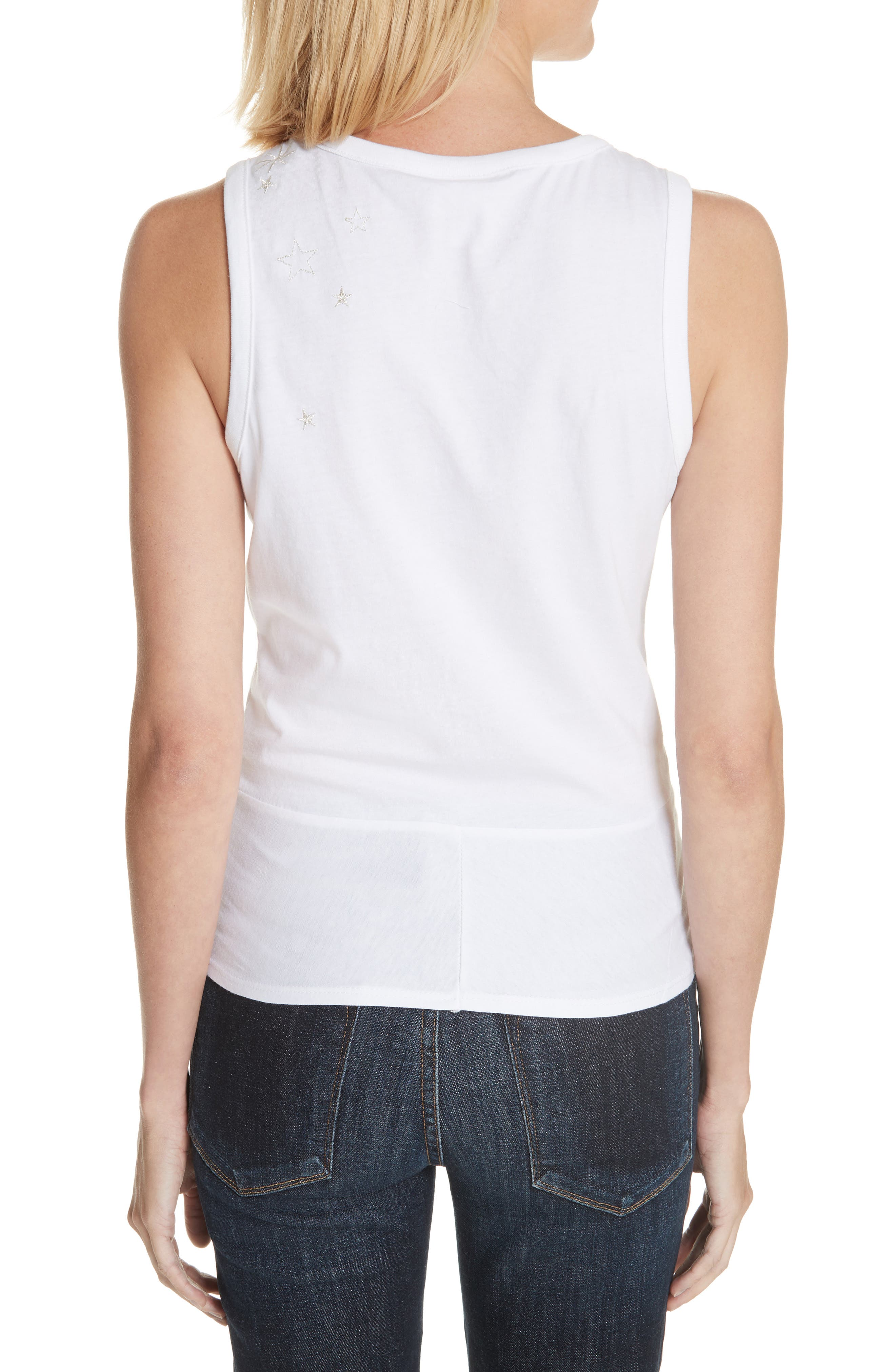 Knot Front Embroidered Tank,                             Alternate thumbnail 2, color,                             White
