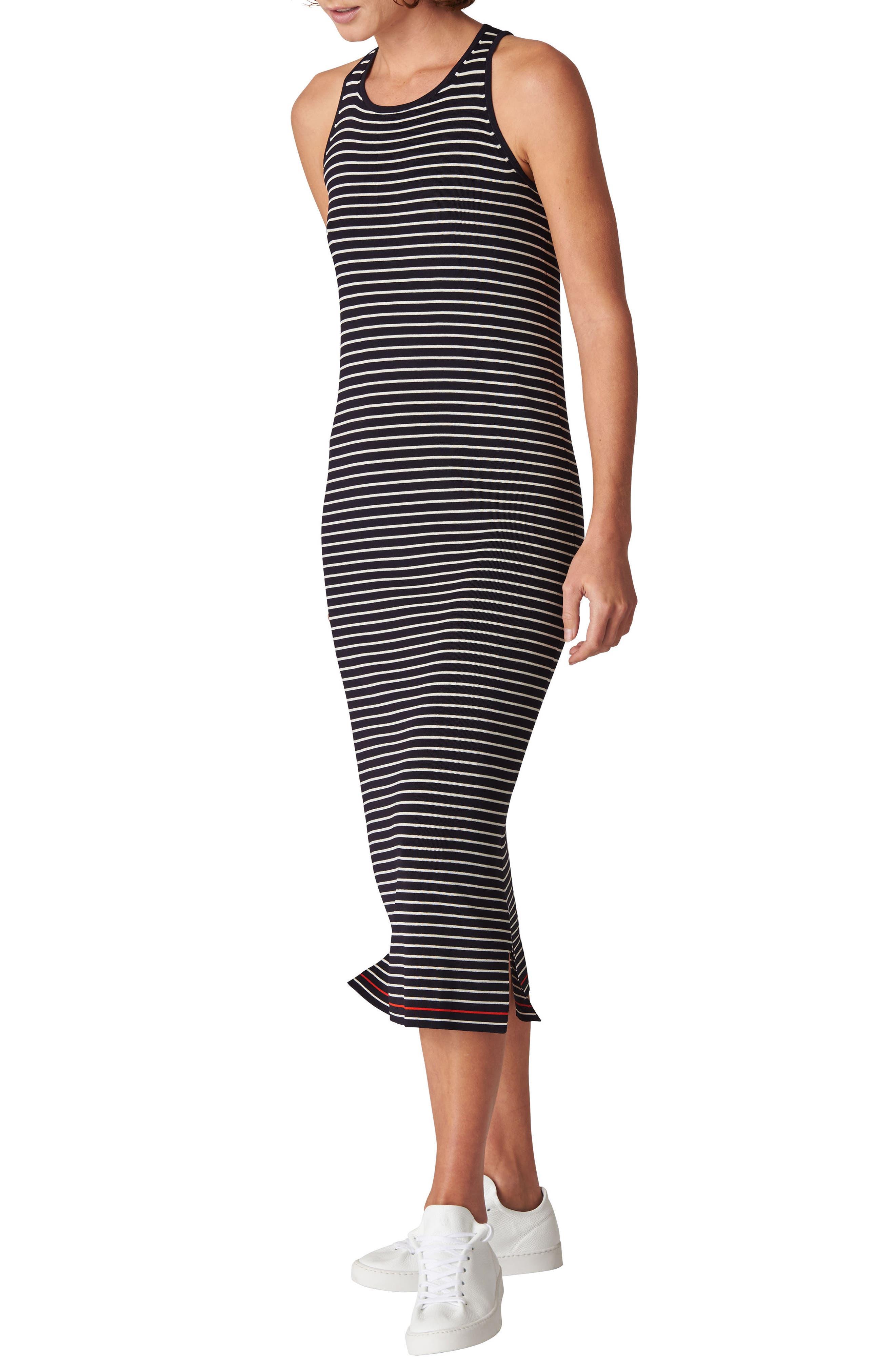 Whistles Stripe Body-Con Midi Dress