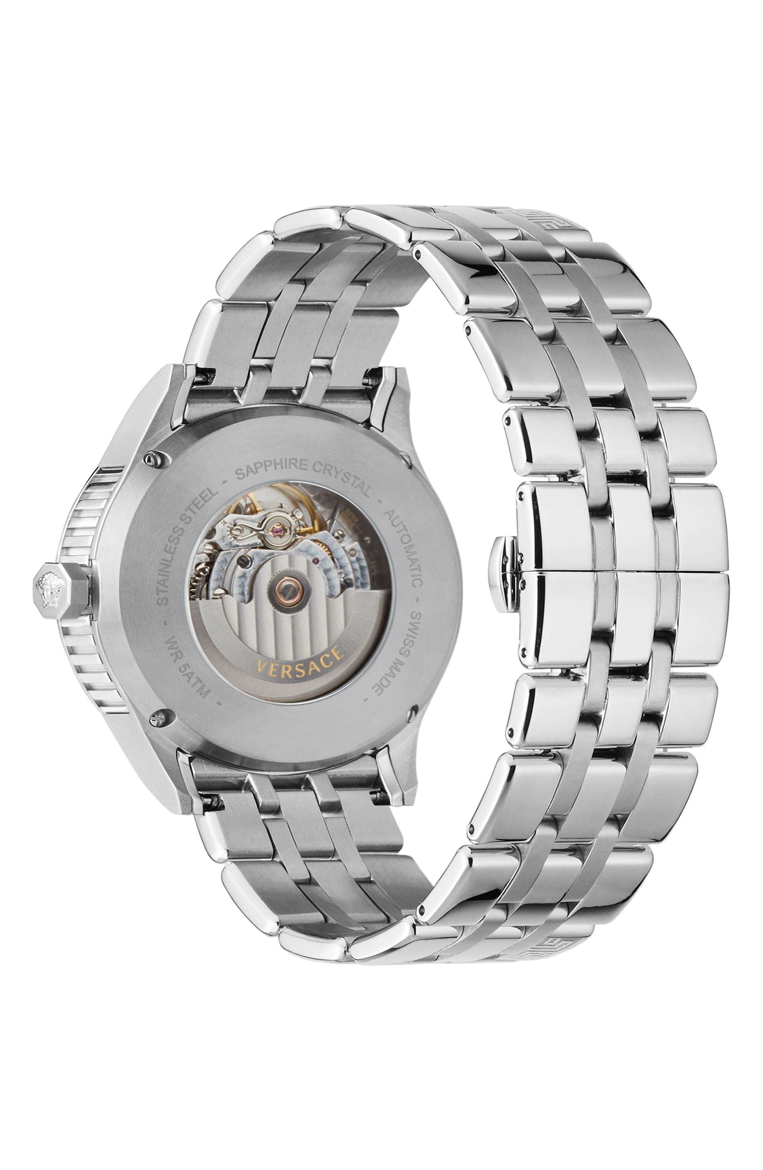 Aiakos Automatic Bracelet Watch, 44mm,                             Alternate thumbnail 3, color,                             Silver