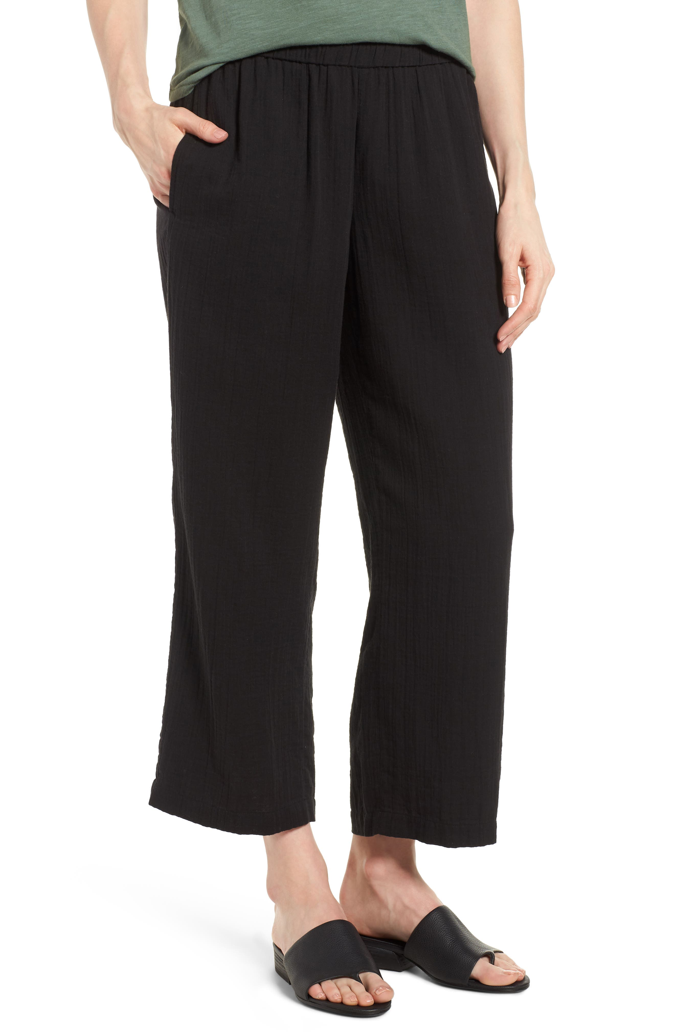 Eileen Fisher Straight Leg Organic Cotton Pants (Regular & Petite)
