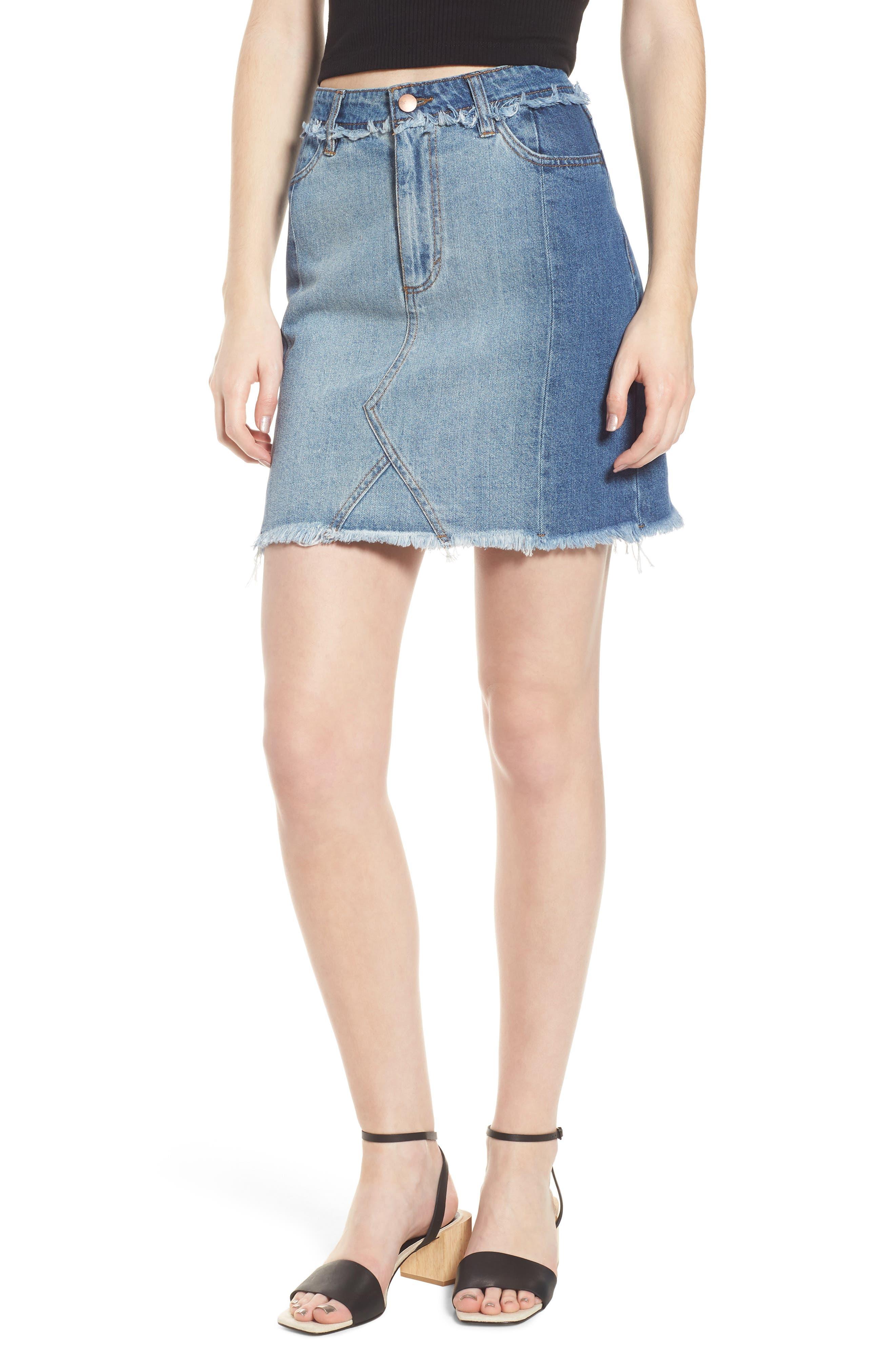 Color Block Denim Skirt,                             Main thumbnail 1, color,                             Med Wash