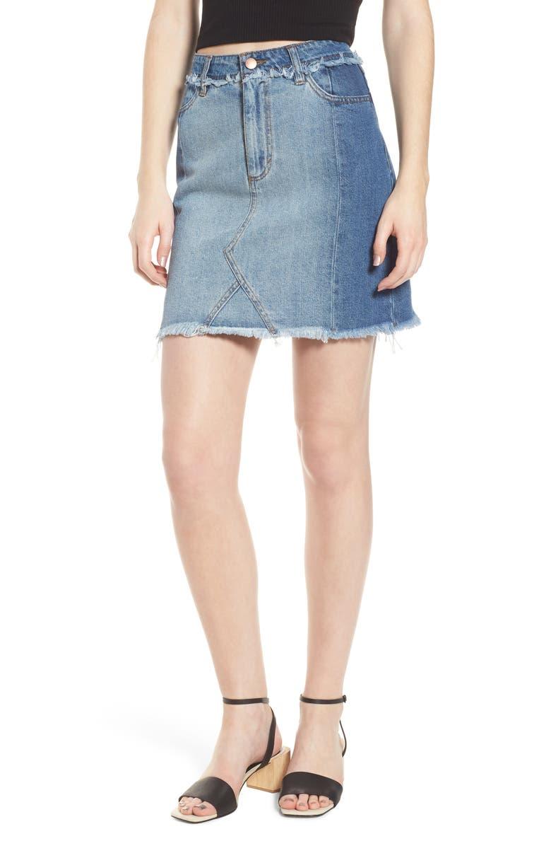 Color Block Denim Skirt