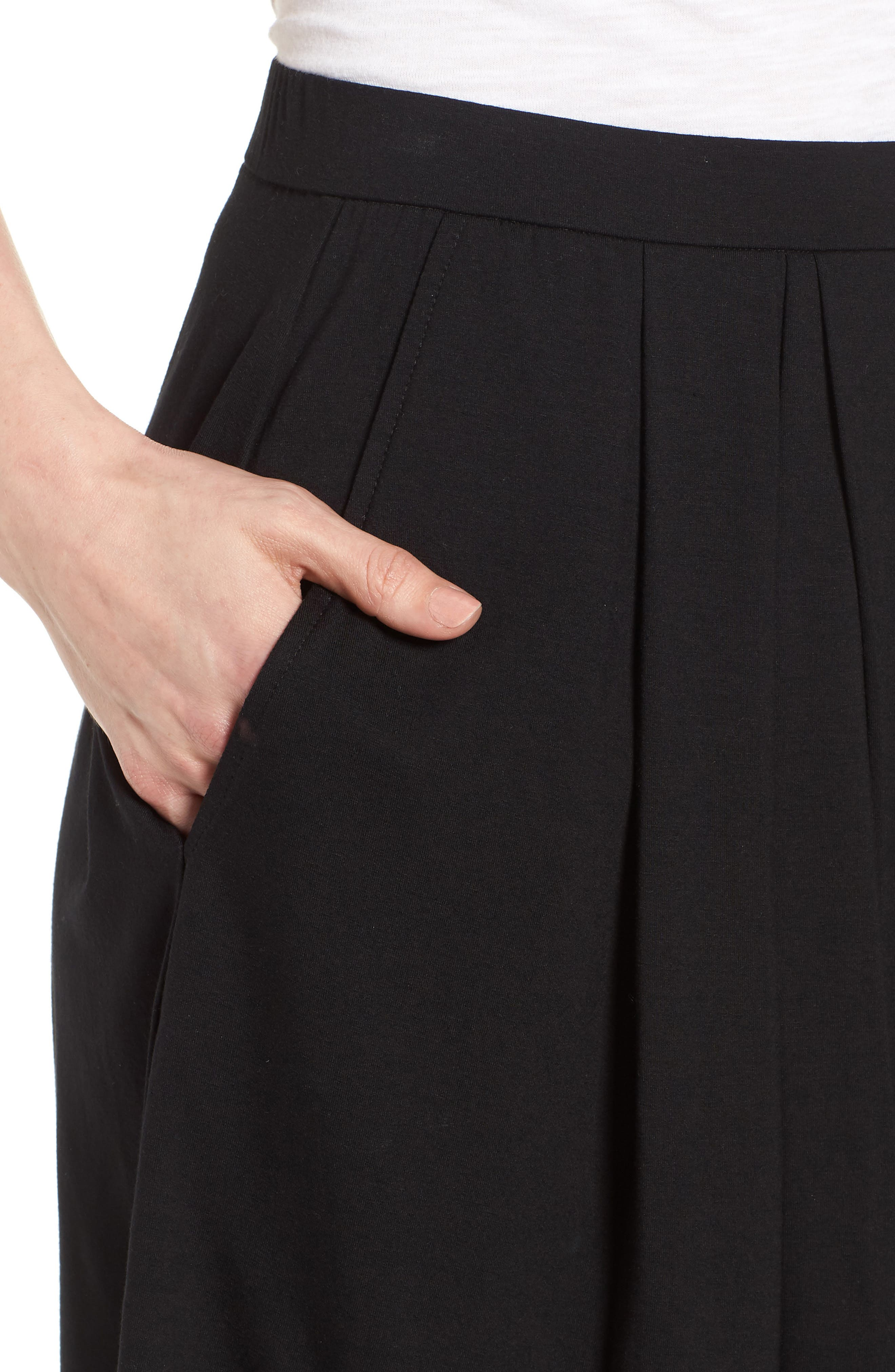 Pleated Jersey Walking Shorts,                             Alternate thumbnail 4, color,                             Black