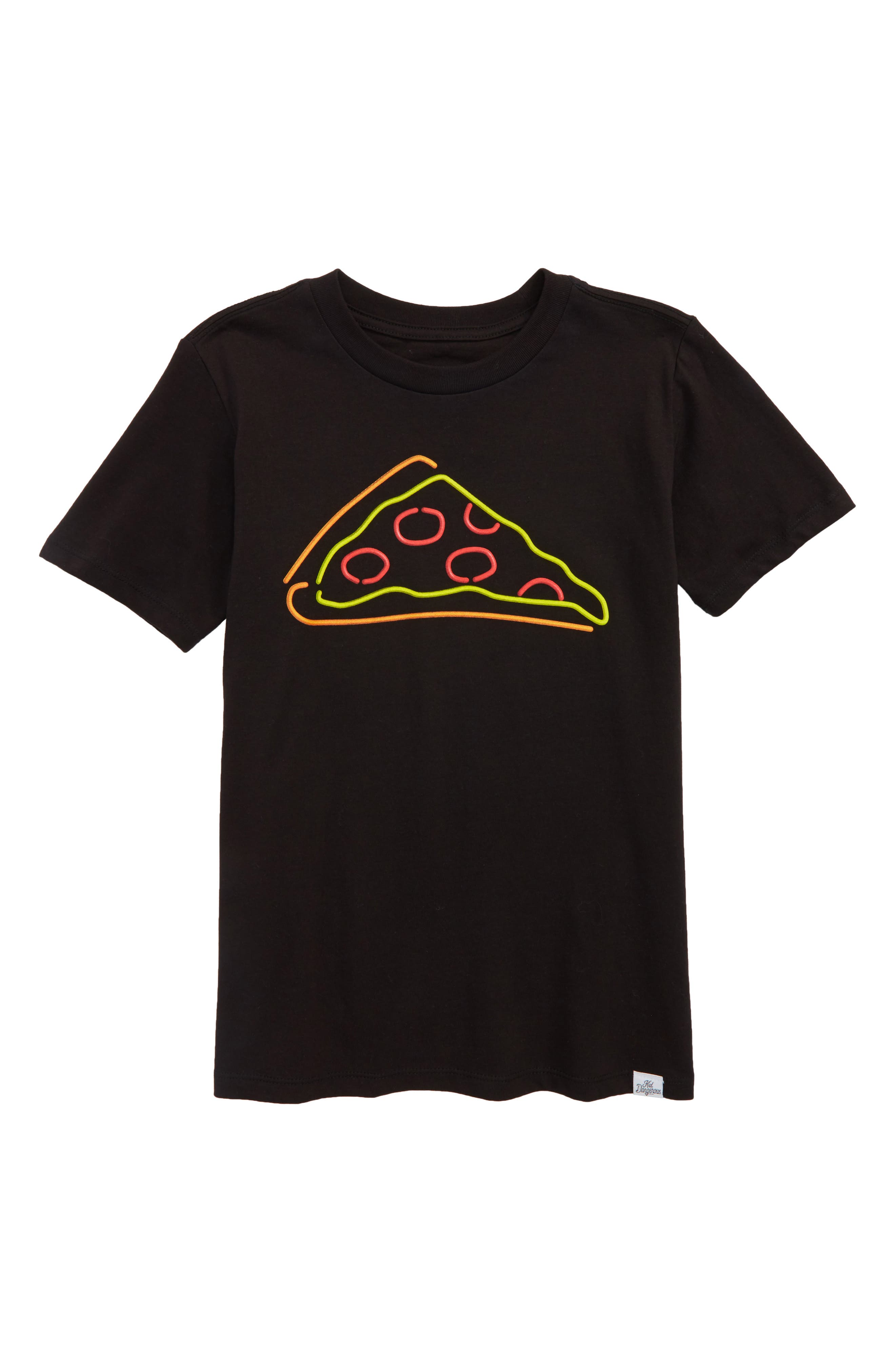 Neon Pizza T-Shirt,                             Main thumbnail 1, color,                             Black